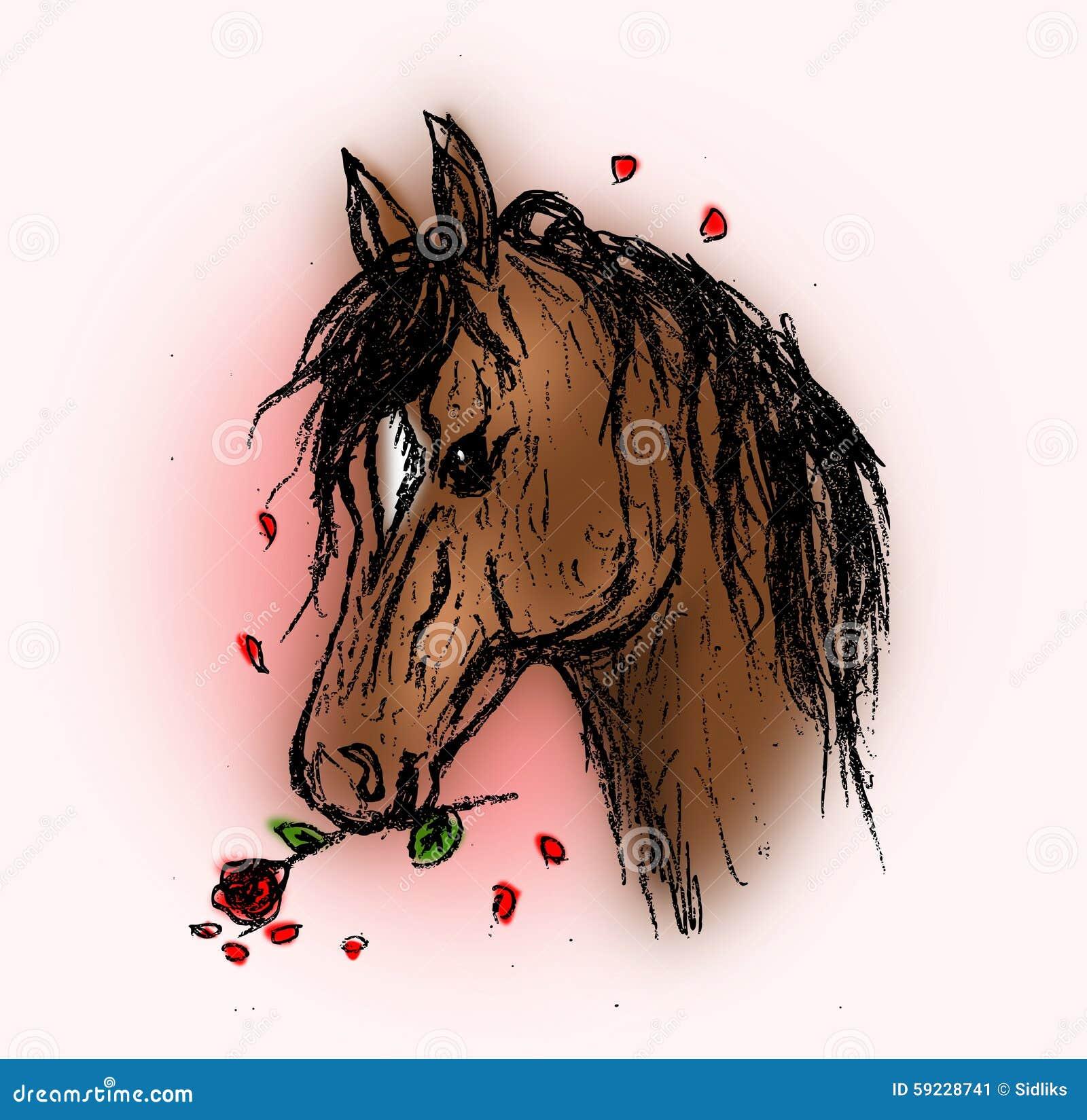 Download Caballo Con La Rosa Del Rojo Stock de ilustración - Ilustración de encantador, historieta: 59228741