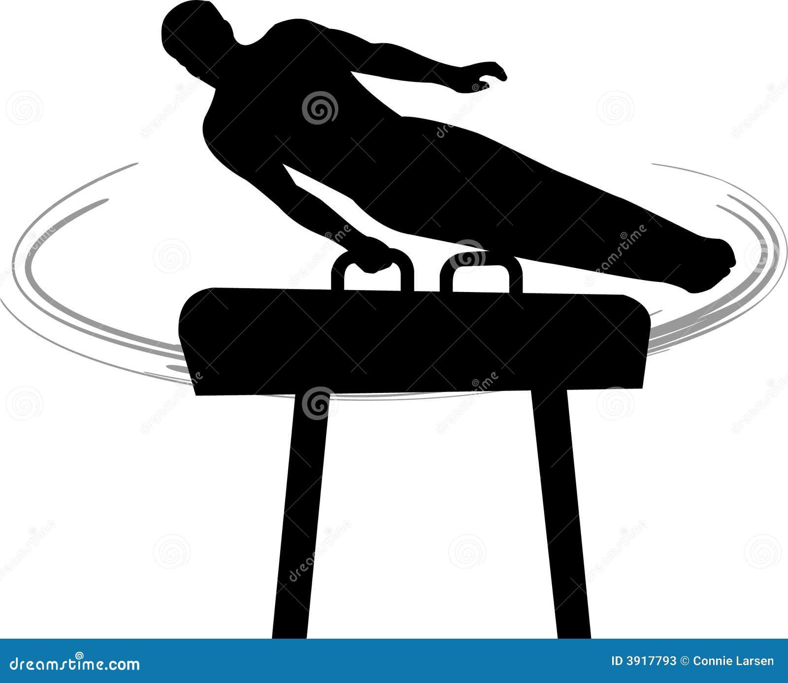 caballo de pomo de espada de la gimnasia de hombres stock