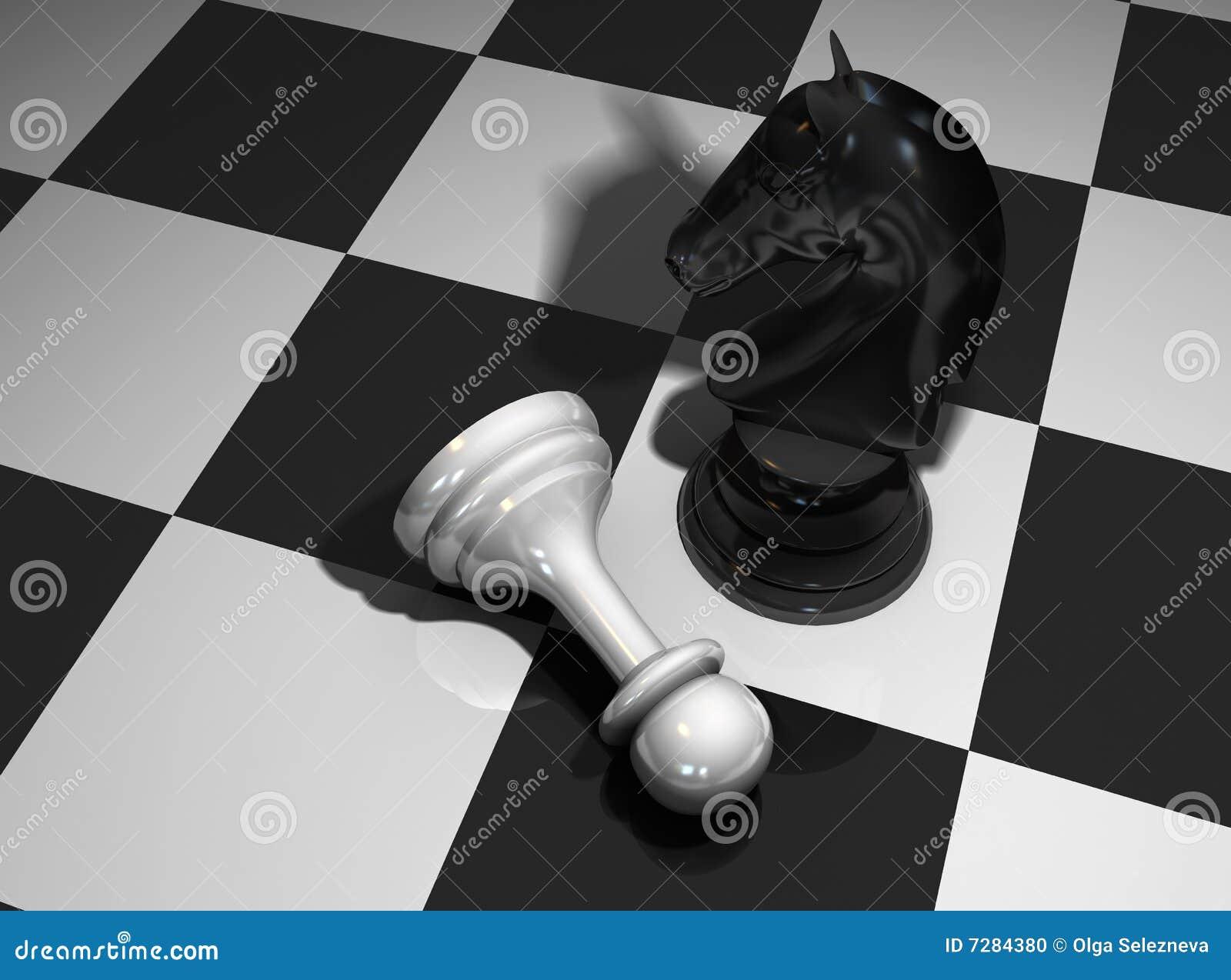 Caballo y empeño del ajedrez