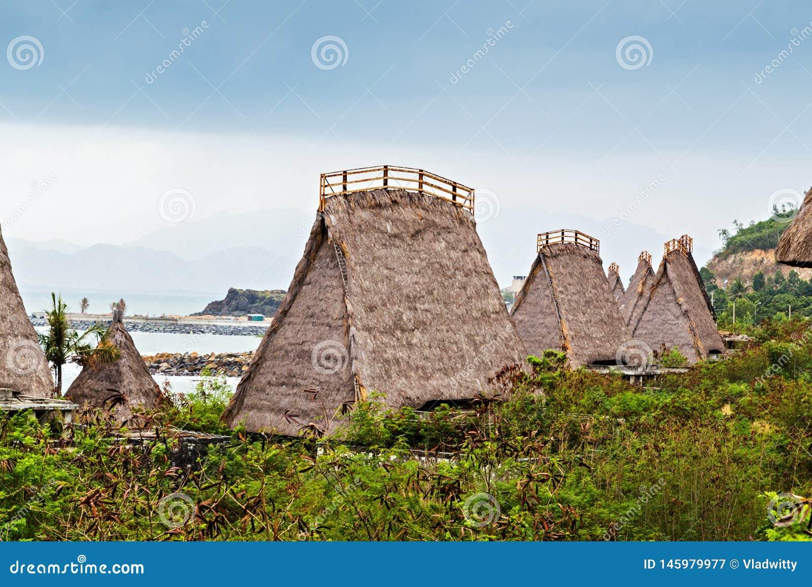 Cabana de Straw Roof, conceito Ásia do turismo do recurso do hotel de Eco