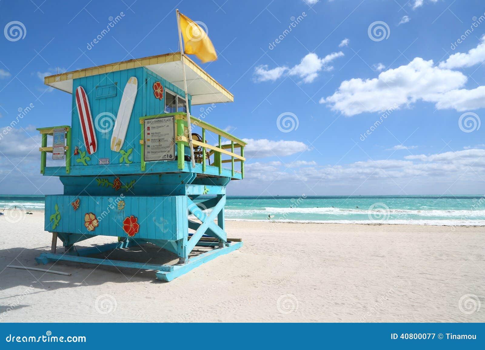 Cabana extravagante da salva vidas na praia de Miami Beach Nenhuns  #296DA2 1300 957