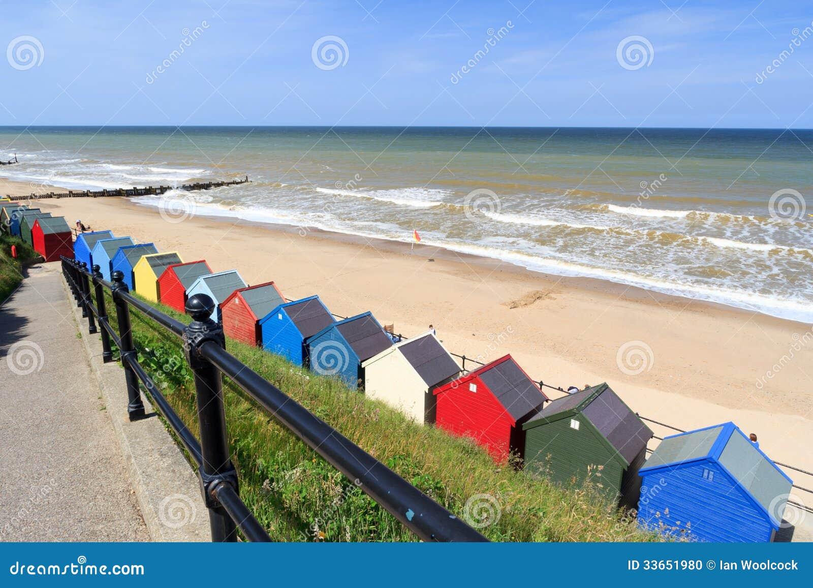 Cabanas Norfolk Inglaterra da praia de Mundesley