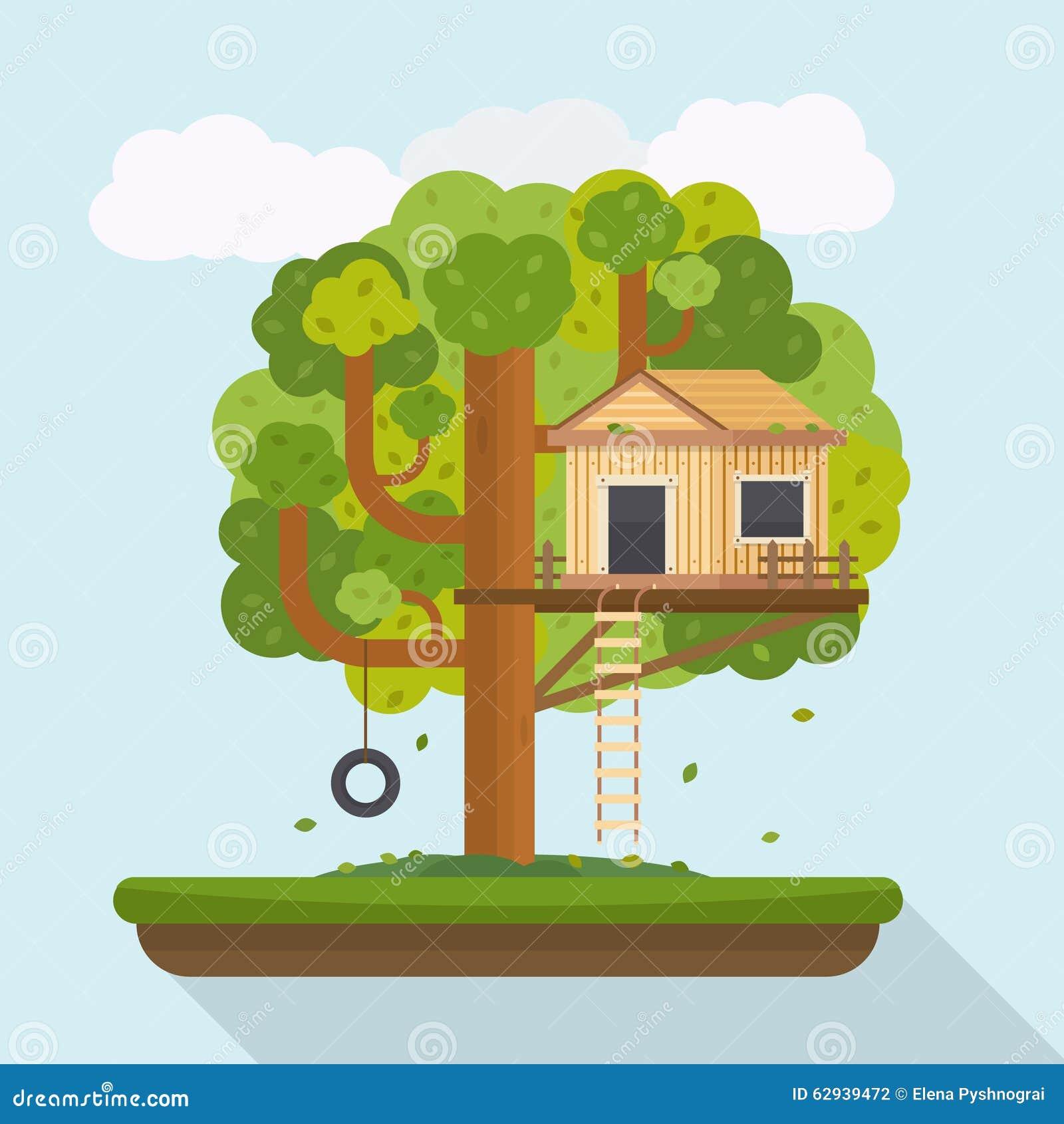 cabane dans un arbre chambre sur l 39 arbre pour des enfants illustration de vecteur illustration. Black Bedroom Furniture Sets. Home Design Ideas