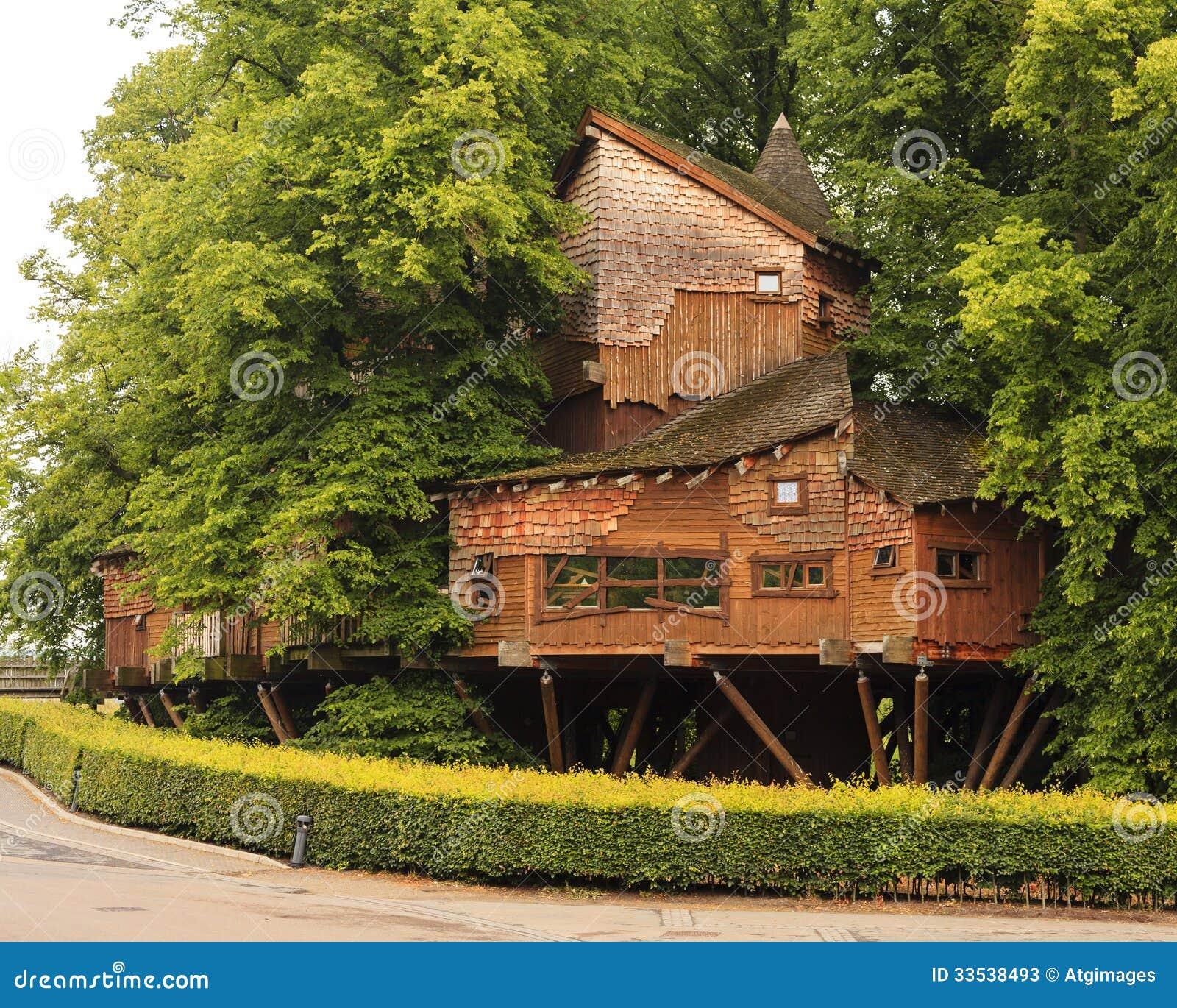 Cabane dans un arbre de jardin d 39 alnwick photo stock for Grande cabane jardin