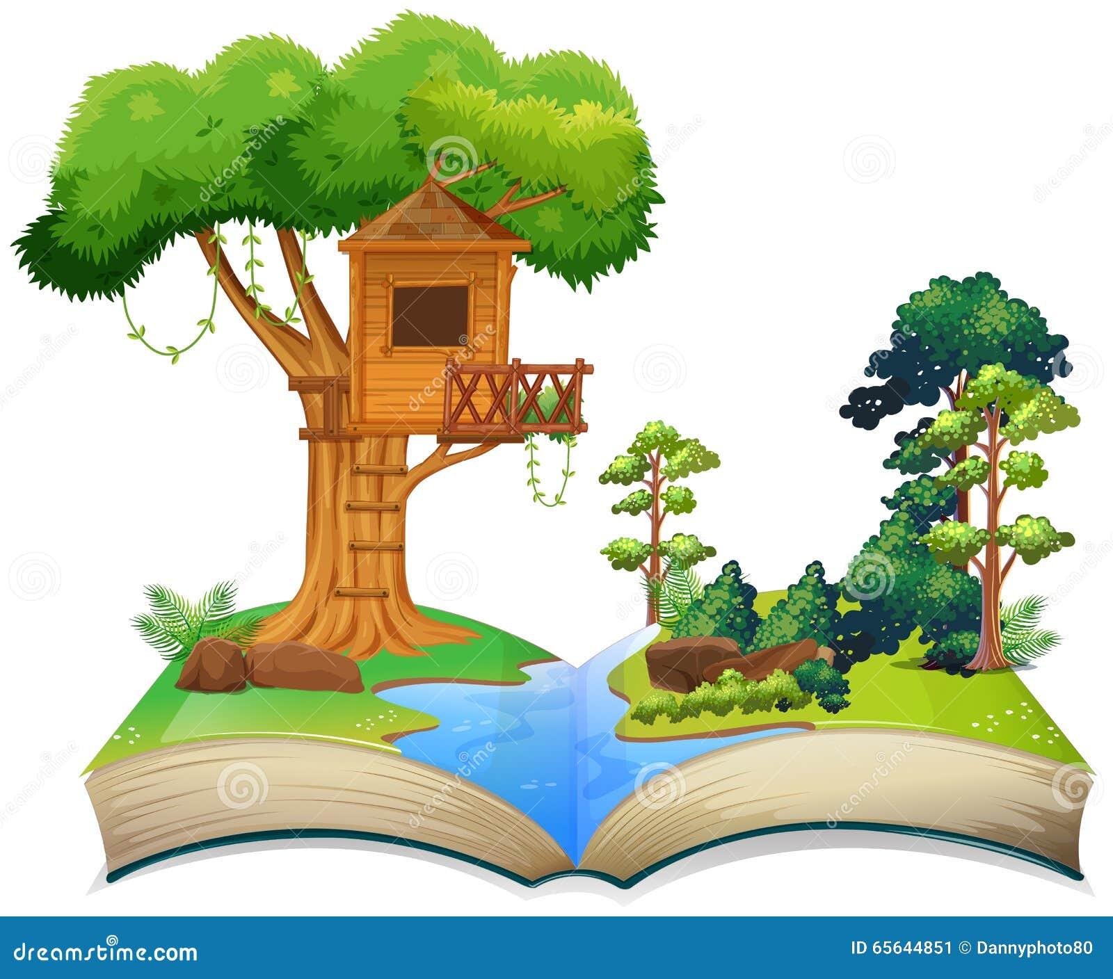 Cabane dans un arbre par la rivière sur un livre