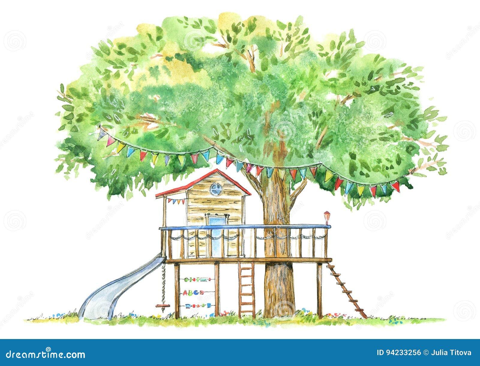 Cabane Dans Un Arbre Pour Des Enfants Illustration Stock