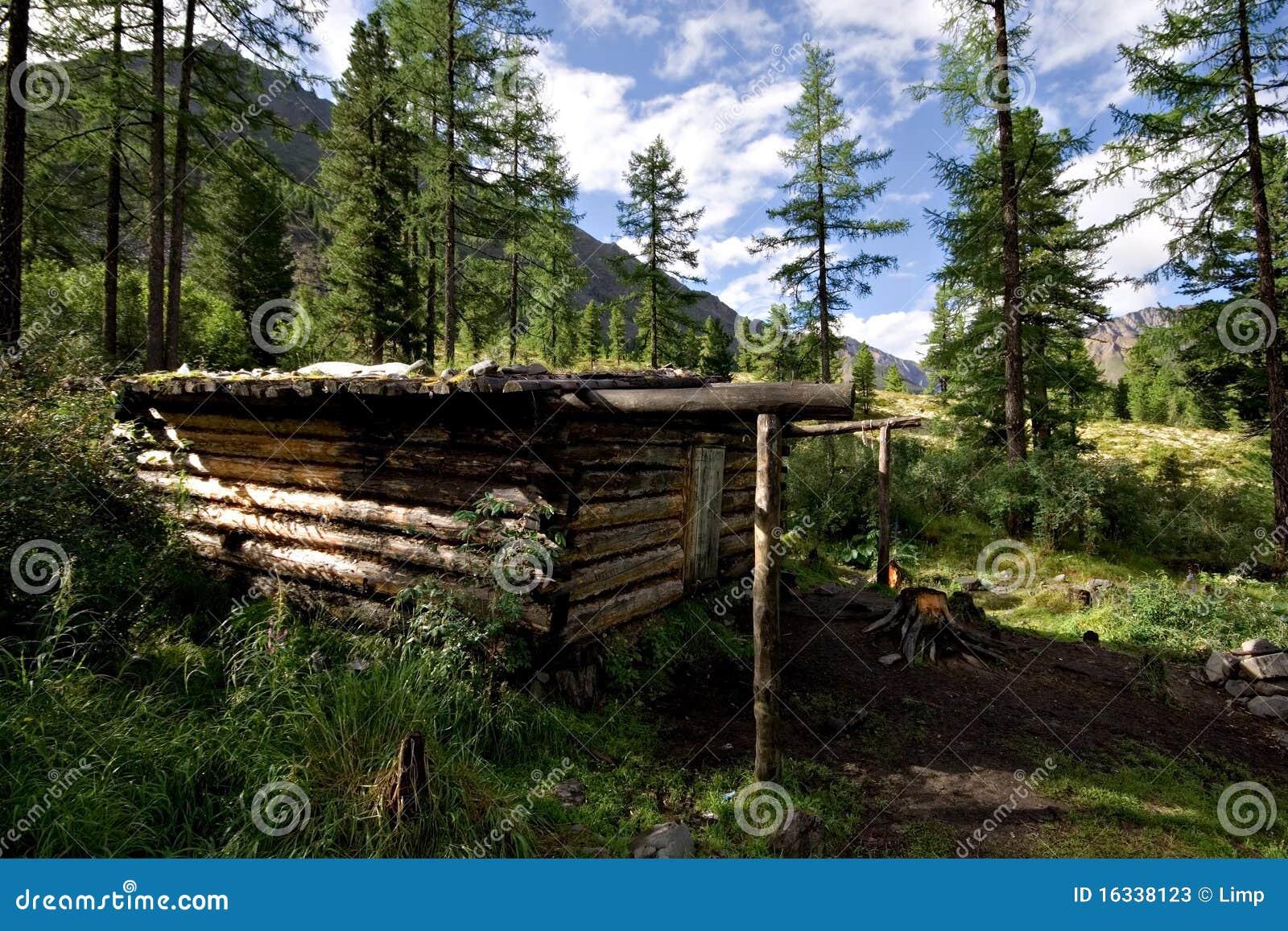 cabane en bois hutte de l 39 hiver dans la for t sauvage montagnes photos stock image 16338123. Black Bedroom Furniture Sets. Home Design Ideas