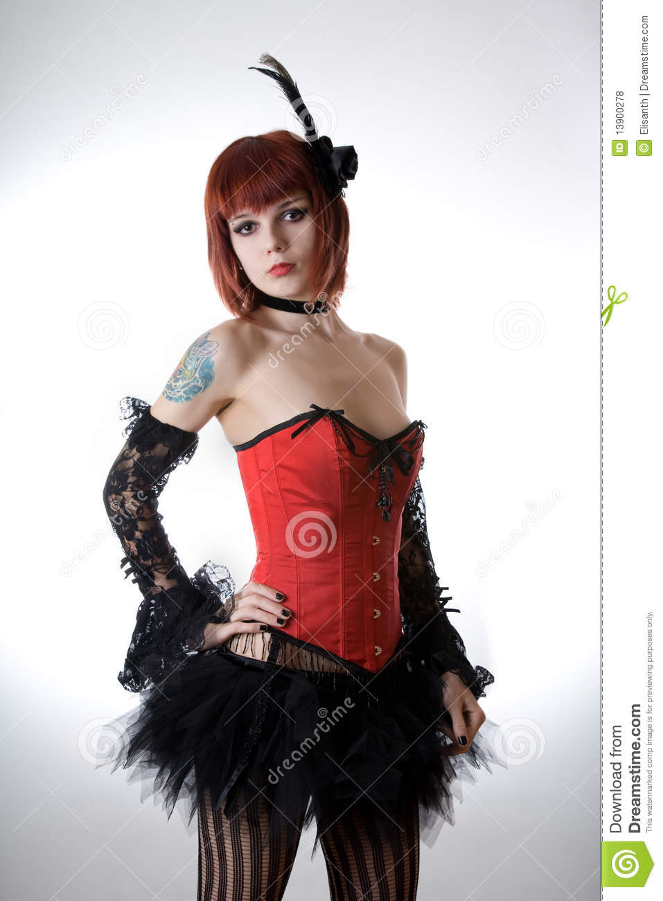 Cabaret girl in red corset