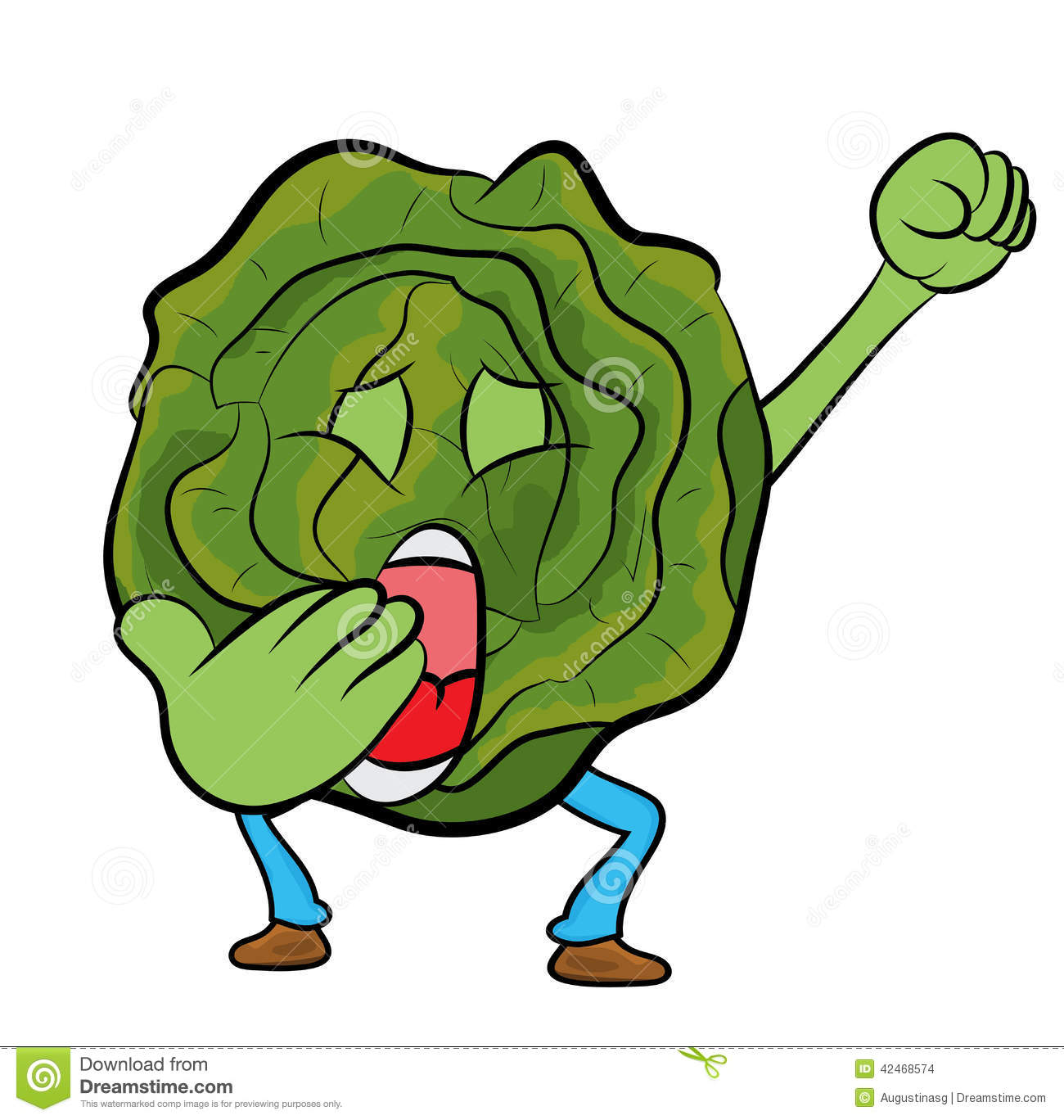 Cabbage Cartoon Character Stock Illustration - Image: 42468574