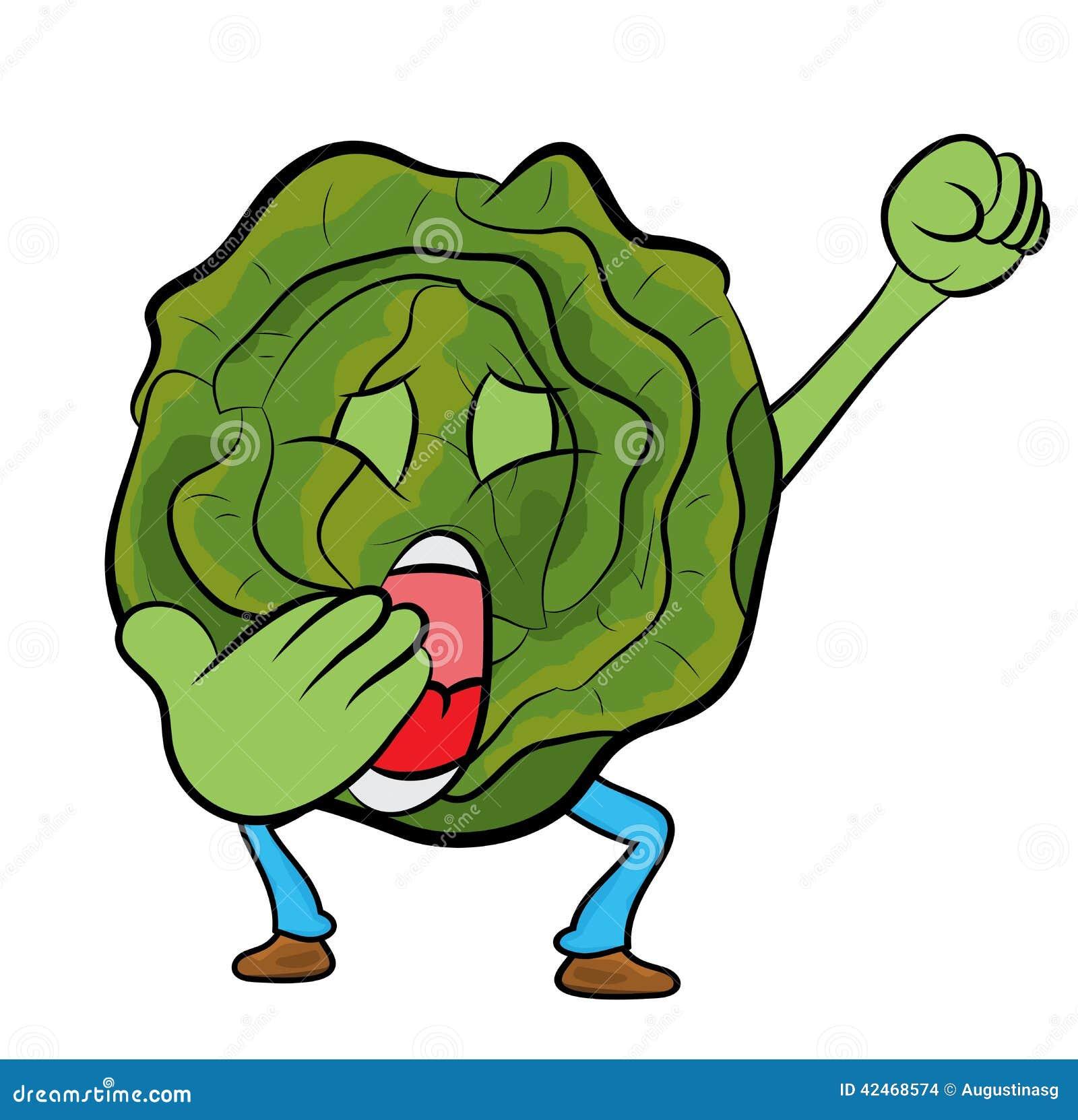 Vector Character Design Illustrator : Cabbage cartoon character stock illustration