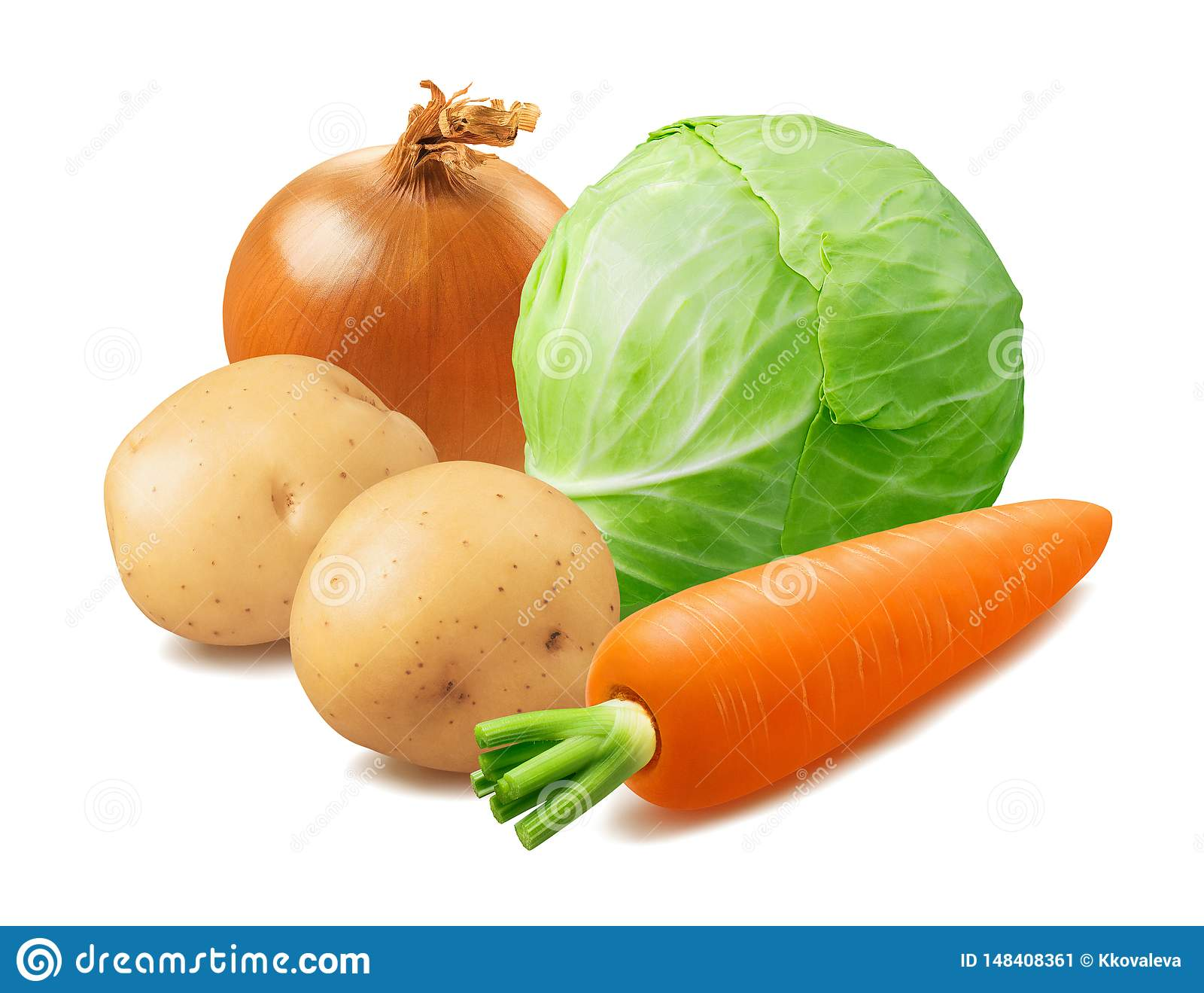 Cabbage, Potato, Carrot and Onion Isolated on White Background ...