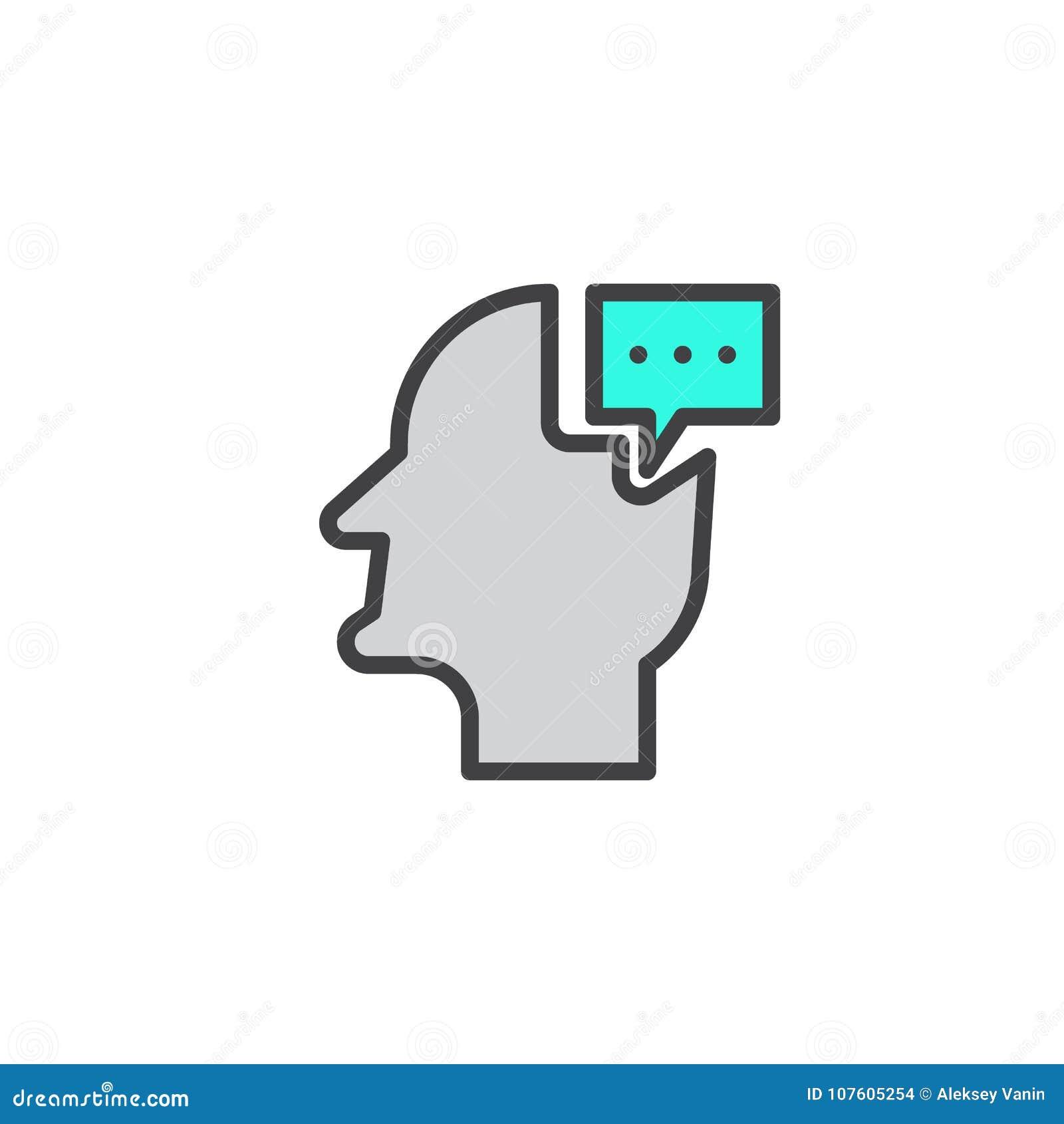 Cabeça com ícone enchido bolha do esboço da conversação