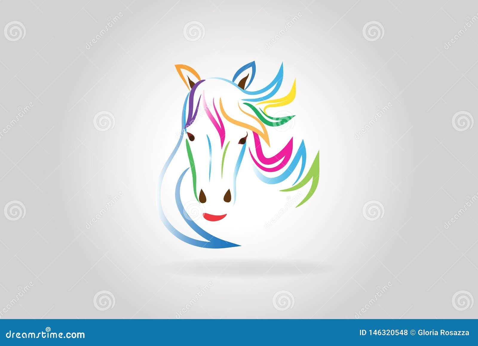 Cabe?a de cavalo da beleza do logotipo