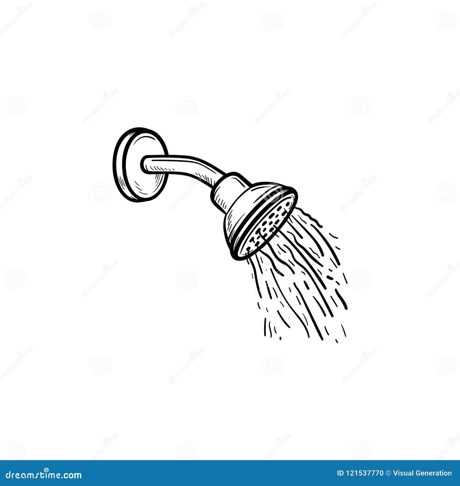 Cabeça de chuveiro com ícone tirado mão da garatuja do esboço das gotas da água