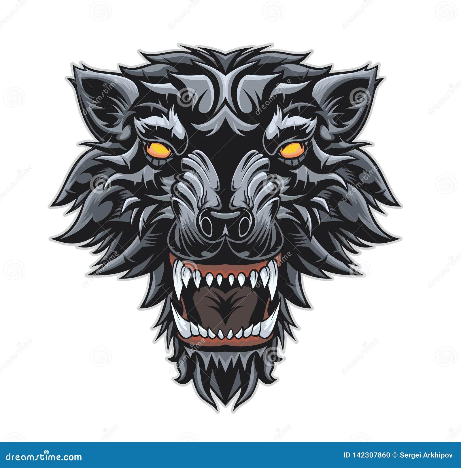 Cabeça de um lobo da rosnadura