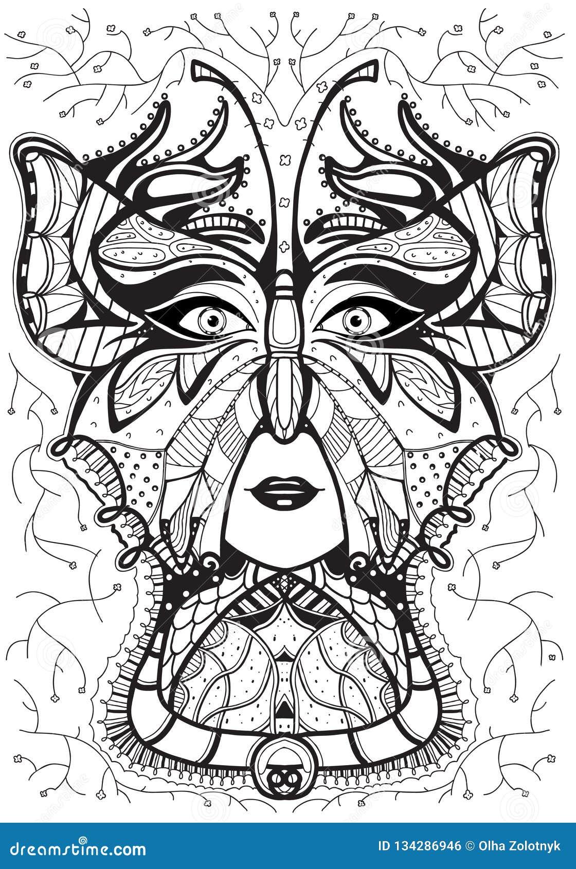 Cabeca De Uma Mulher Em Uma Mascara Da Borboleta Linha Preta No