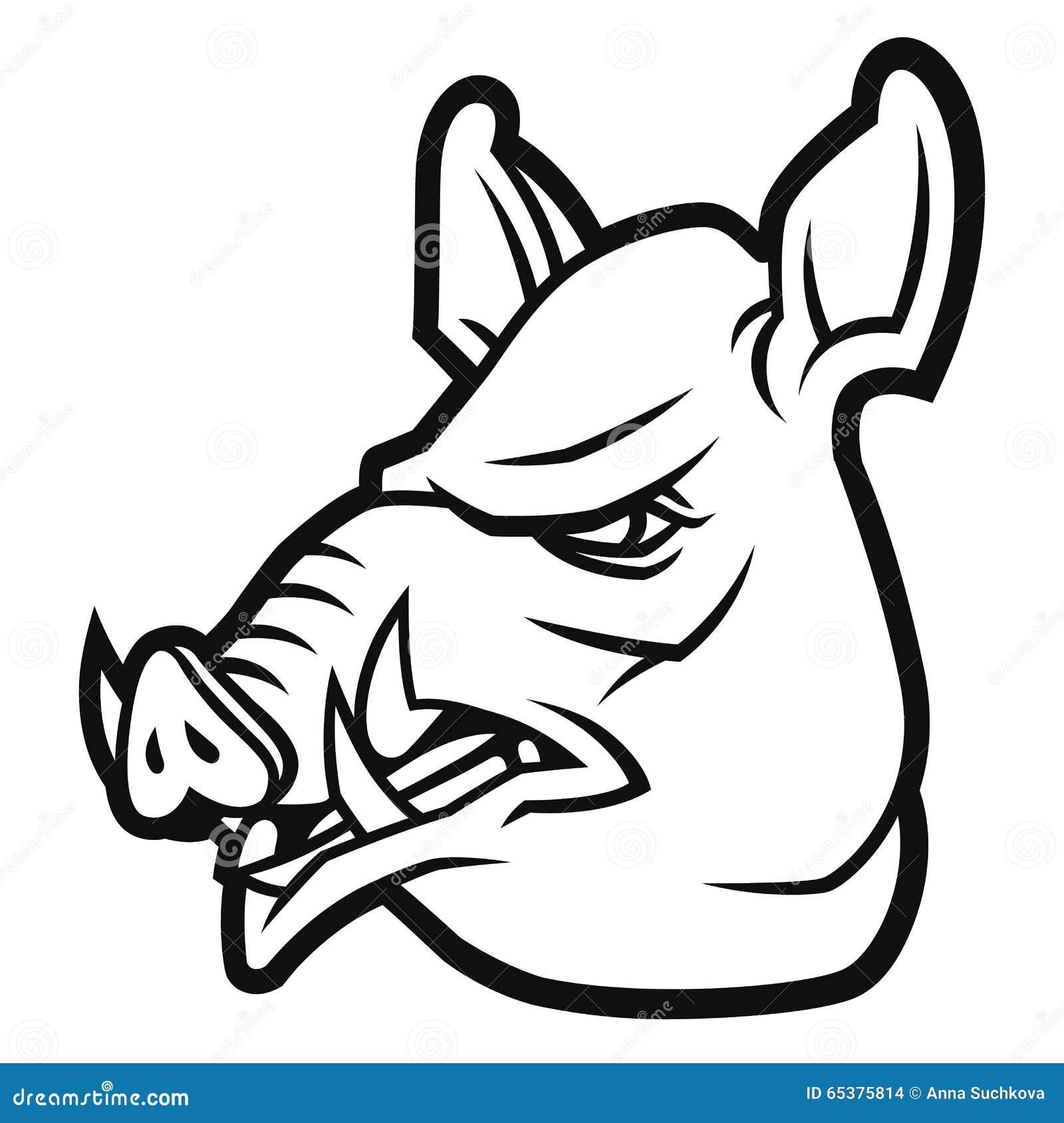 cabeça do javali no estilo dos desenhos animados foto de stock