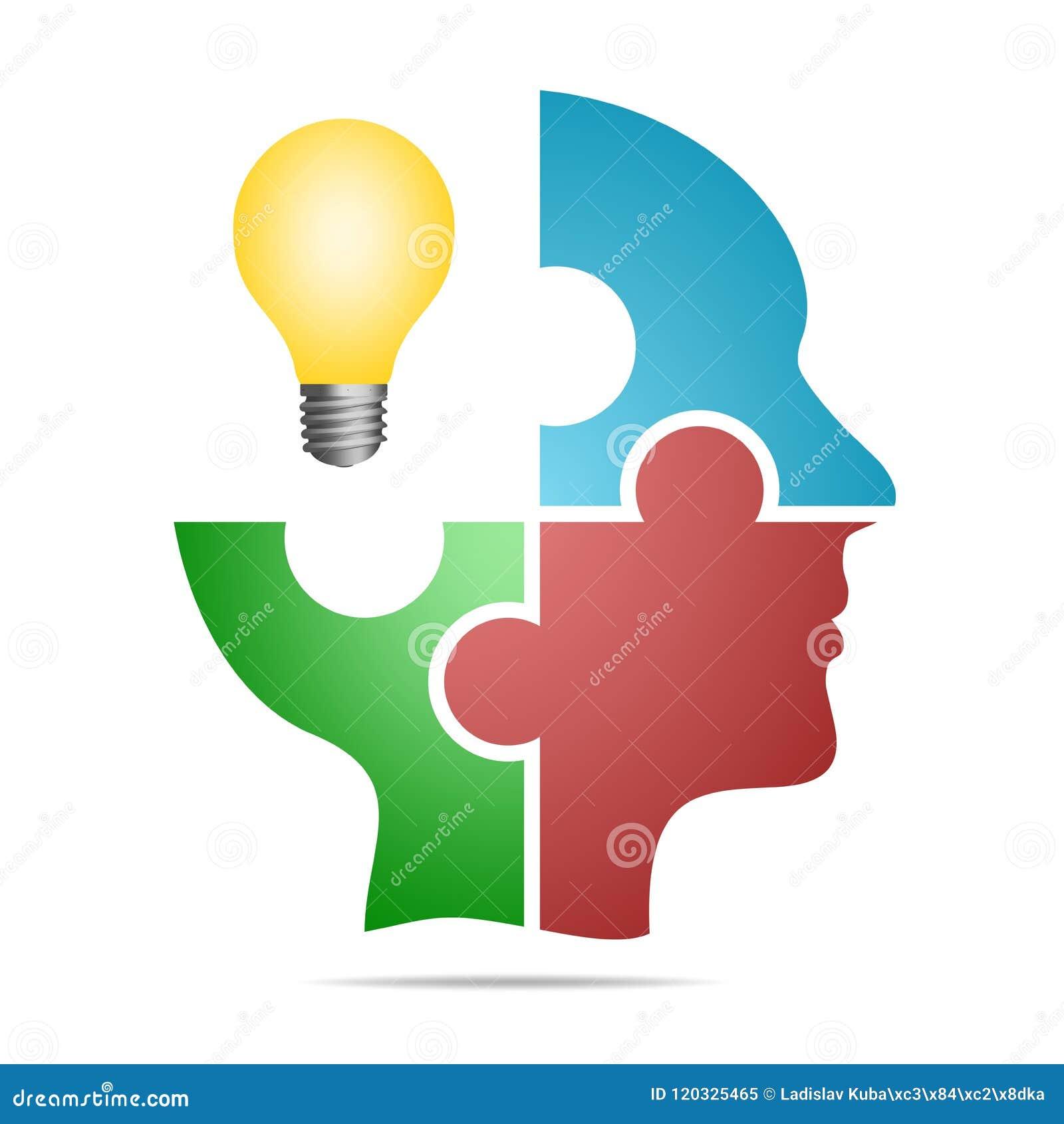 A cabeça humana composta do enigma colorido remenda com o bulbo amarelo com sombra cinzenta abaixo da cabeça em um fundo branco H