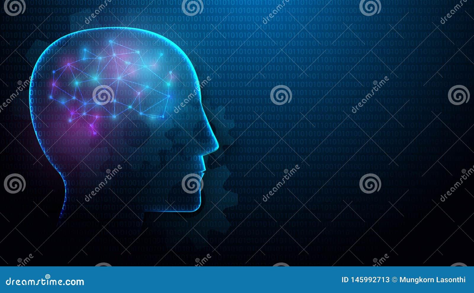 Cabeça humana e cérebro com conceito da inteligência artificial das linhas, dos triângulos e do projeto do estilo da partícula