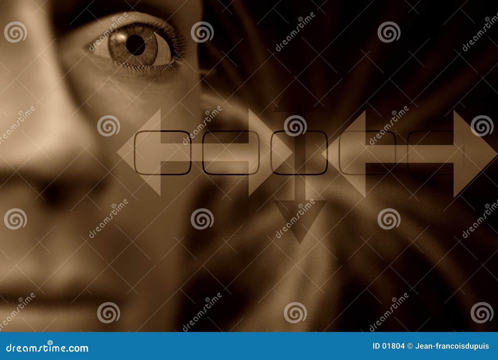 Cabeça humana, olho no foco