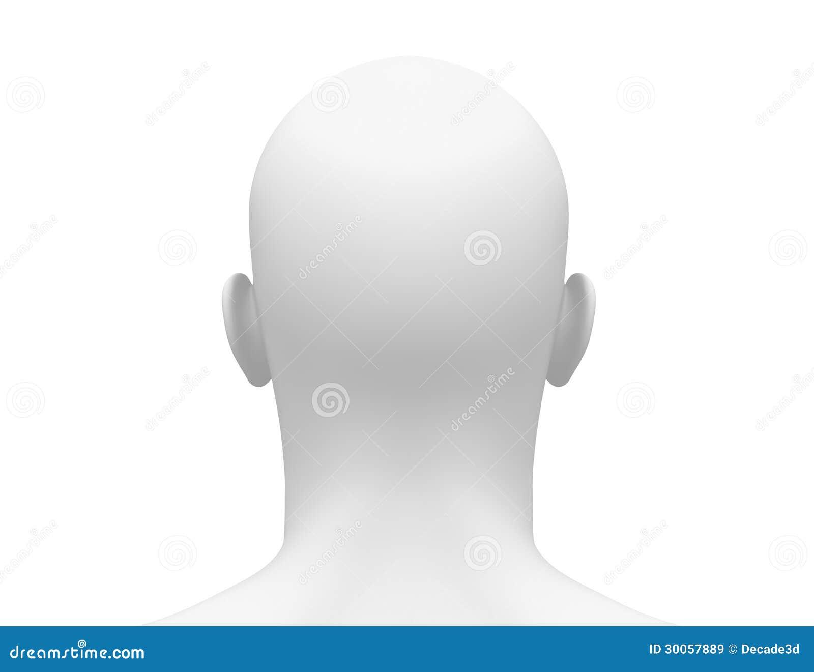Cabeça masculina branca vazia - vista traseira