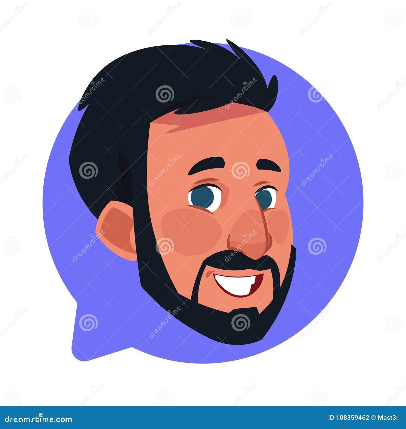 Cabeça masculina do ícone do perfil na bolha isolada, retrato caucasiano farpado do bate-papo do personagem de banda desenhada do