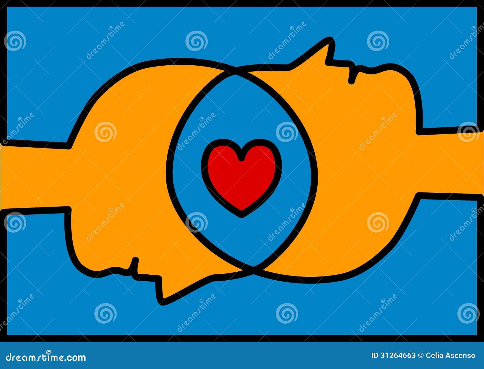 Cabeças conectadas que compartilham do coração do amor