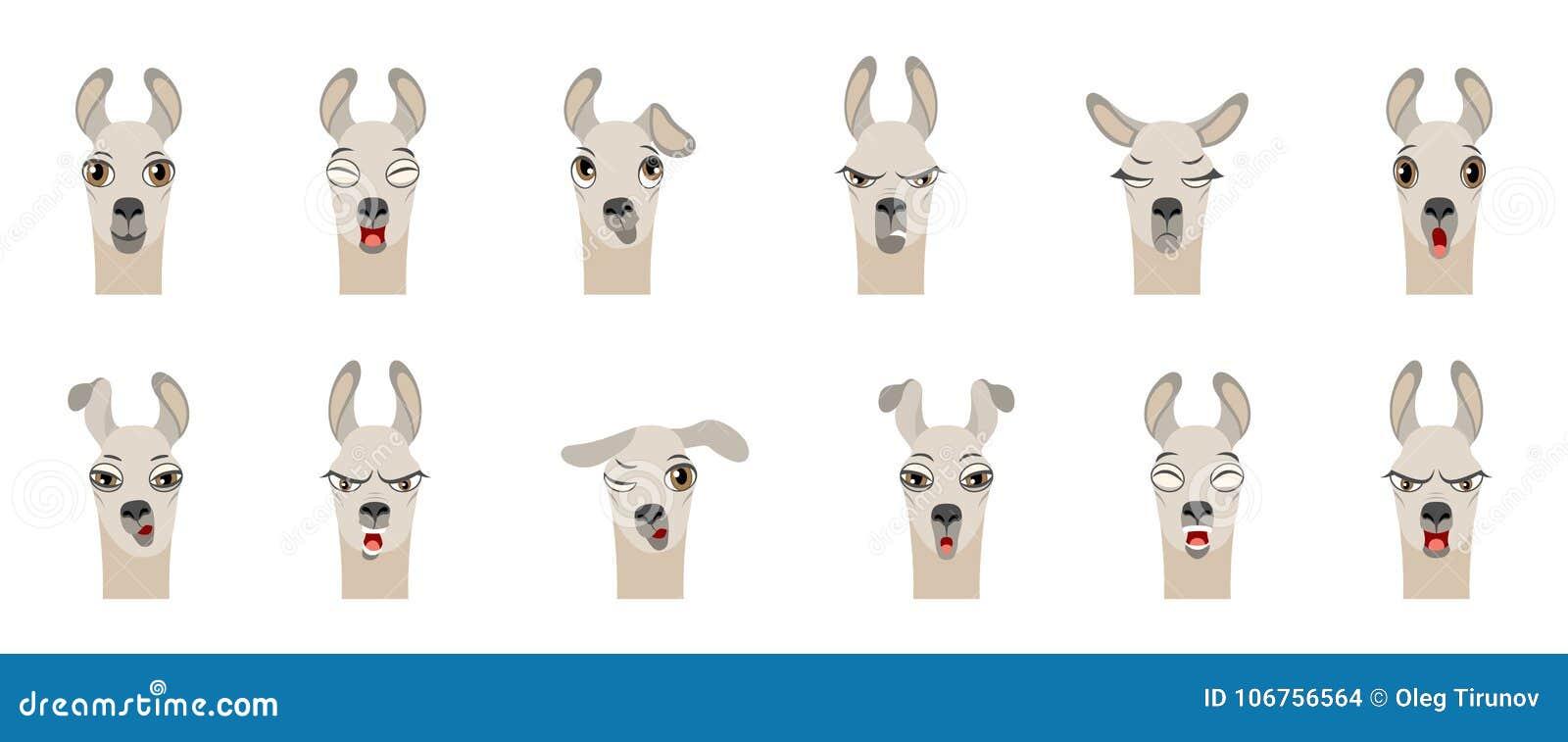 Cabeças da Lama com emoções diferentes - sorrindo, tristes, raiva, agressão, sonolência, fadiga, malícia, surpresa, medo