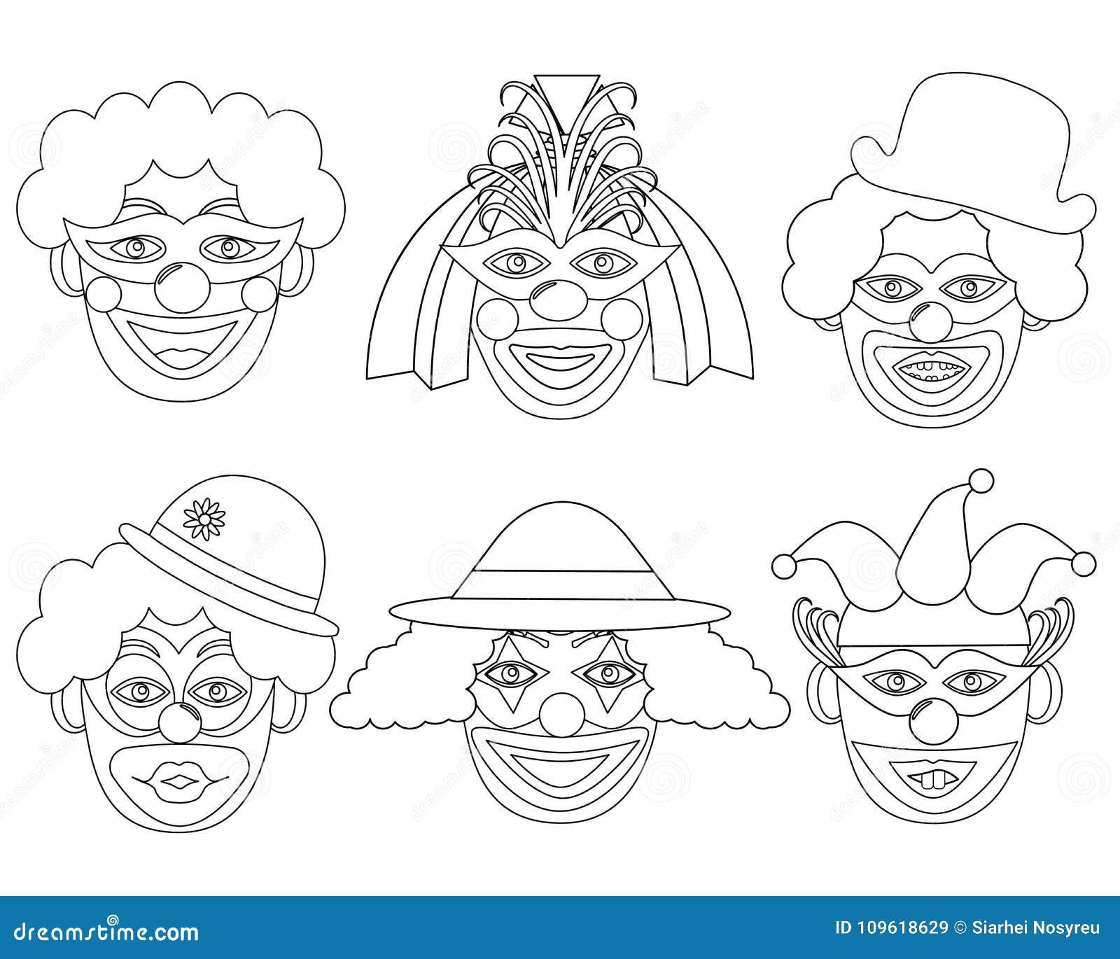 Cabeças de Clown's nas cores brancas e pretas, grupo
