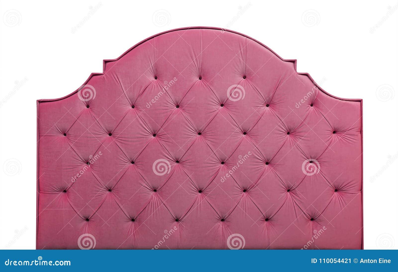 Cabeceira cor-de-rosa da cama de veludo isolada no branco
