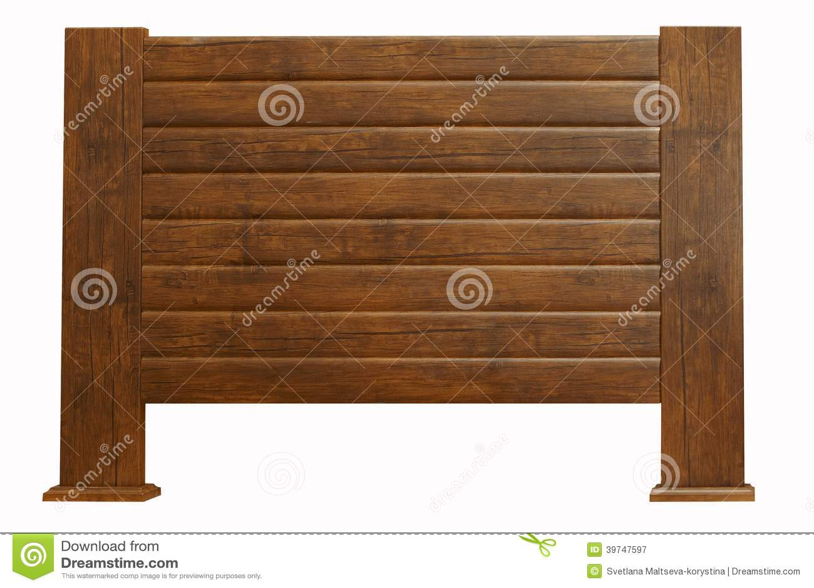 Cabecero de madera de Brown aislado en blanco