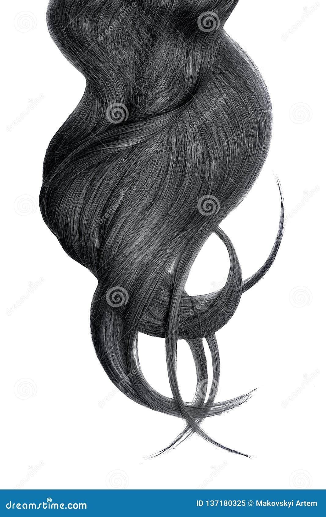 Cabelo preto luxúria isolado no fundo branco
