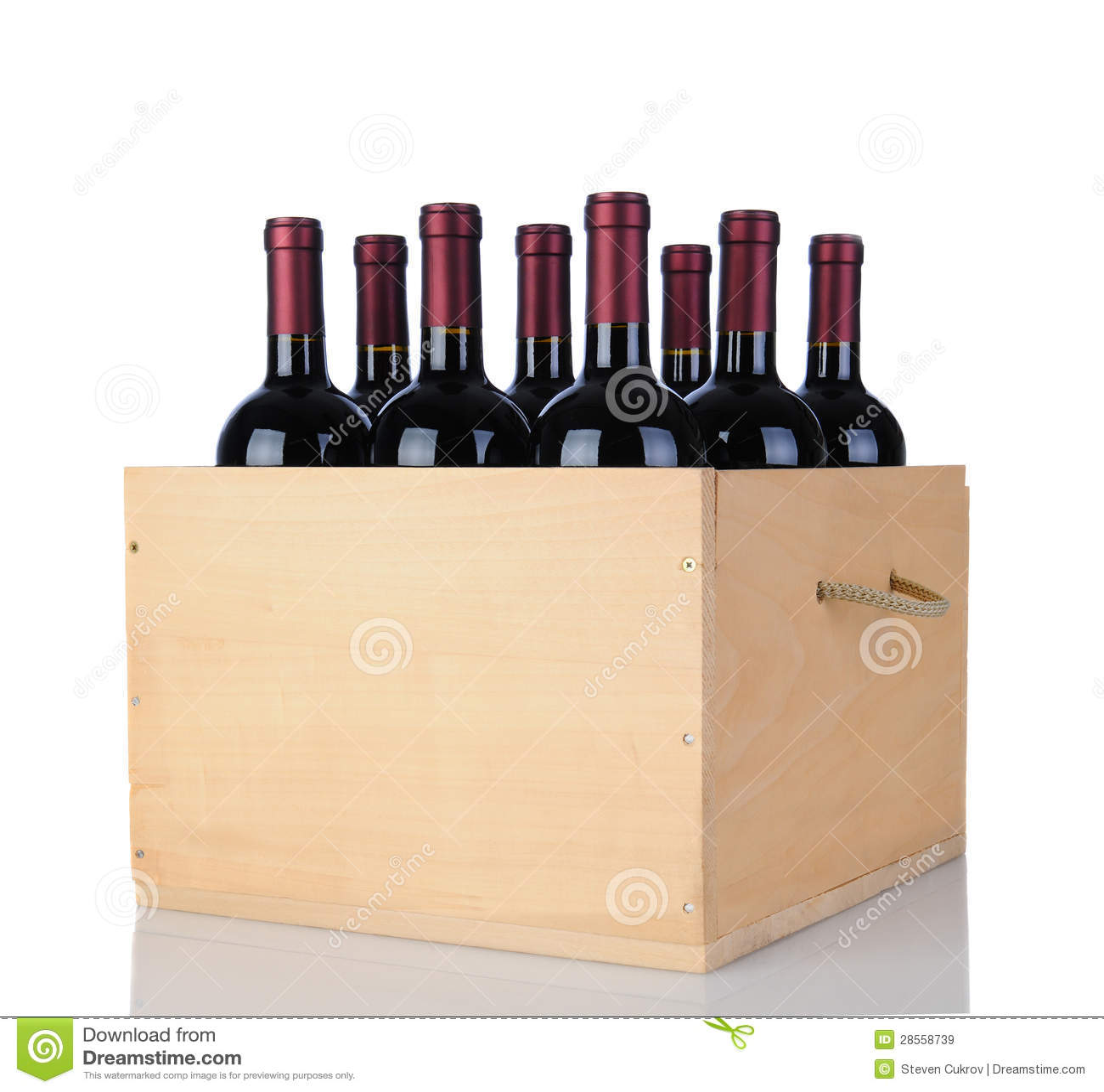 Cabernet de Flessen van de Wijn in Houten Krat