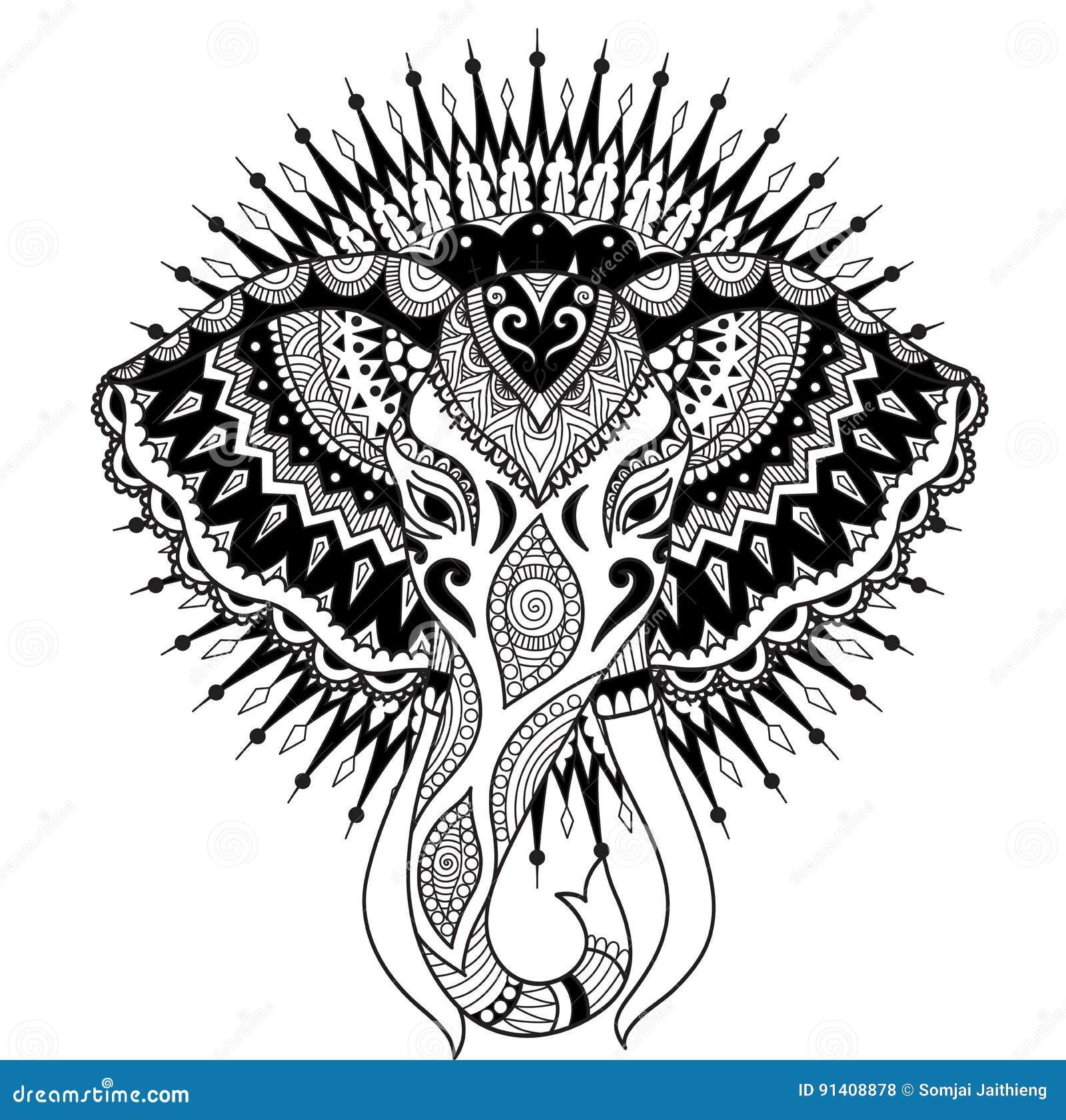 Cabeza Abstracta Hermosa Del Elefante En El Diseño Del Círculo De La ...