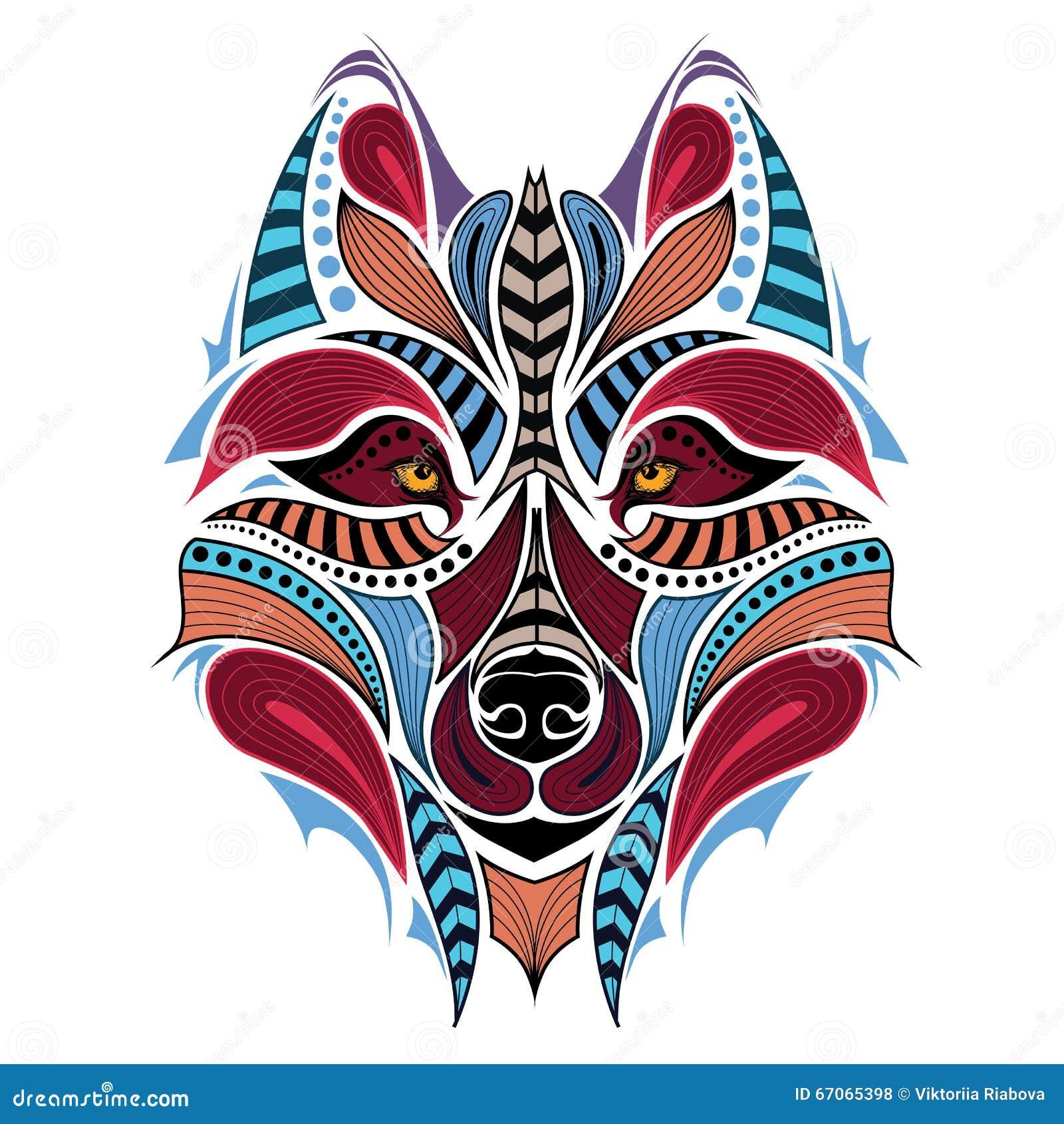 Cabeza Coloreada Modelada Del Lobo Diseño Africanodel Indiodel