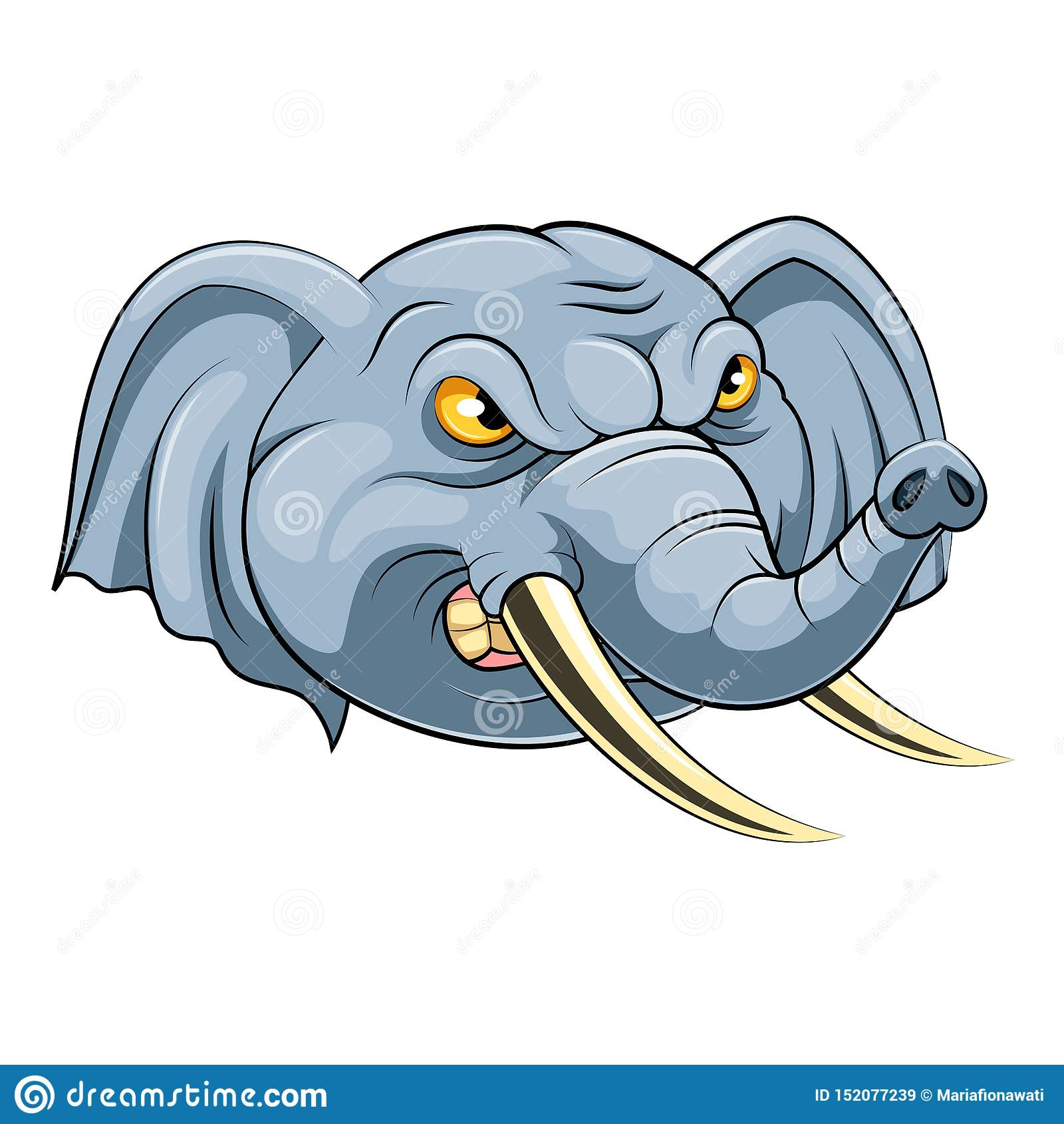 Cabeza de la mascota de un elefante