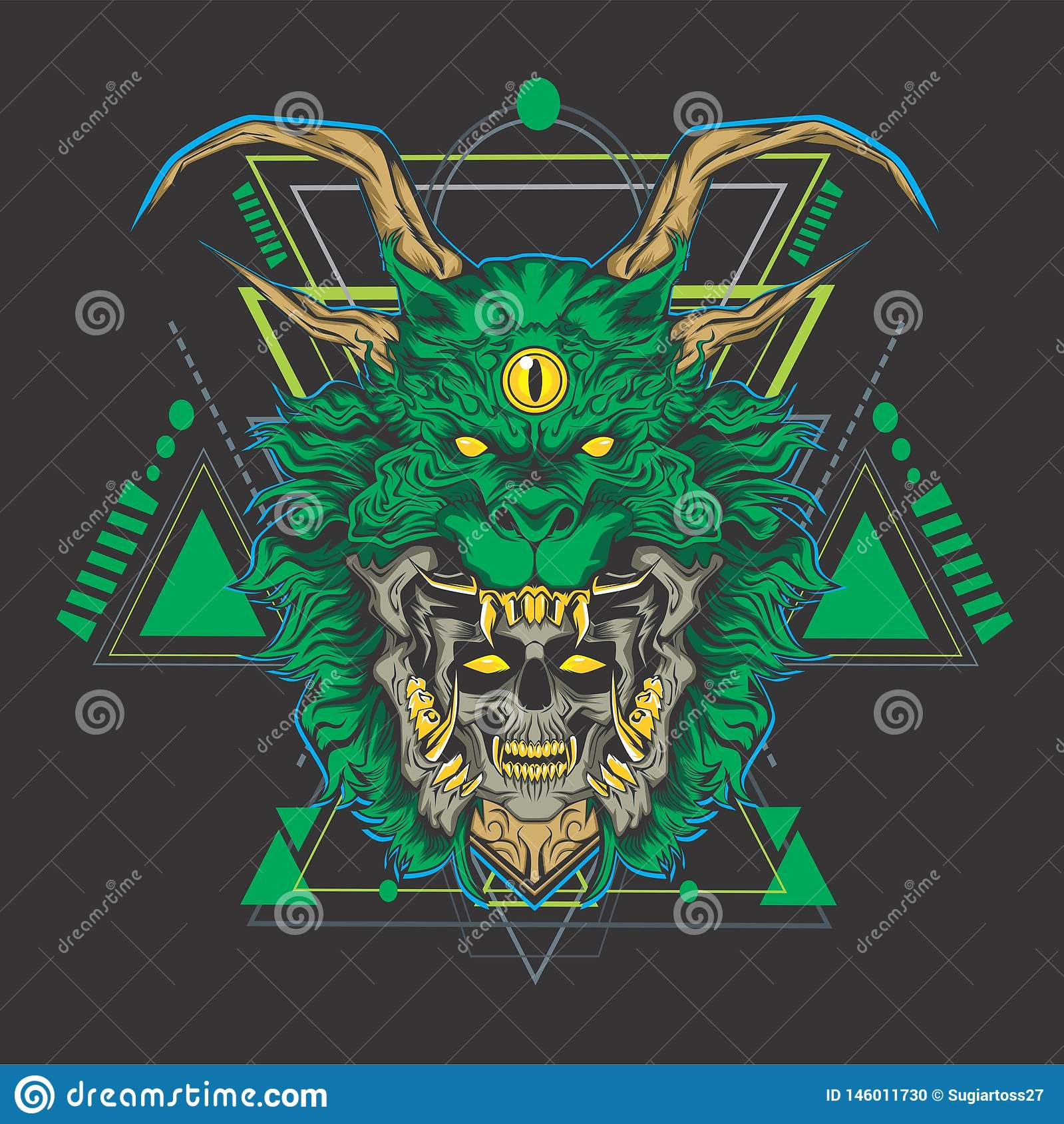 Cabeza del cráneo del dragón verde