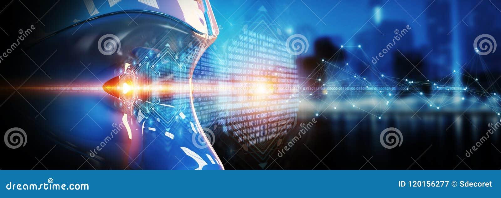 Cabeza del Cyborg usando la inteligencia artificial de crear el inte digital