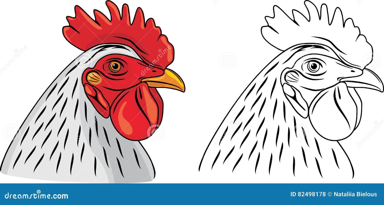 Cabeza Del Gallo La Muestra Para Colorear Ilustración Del