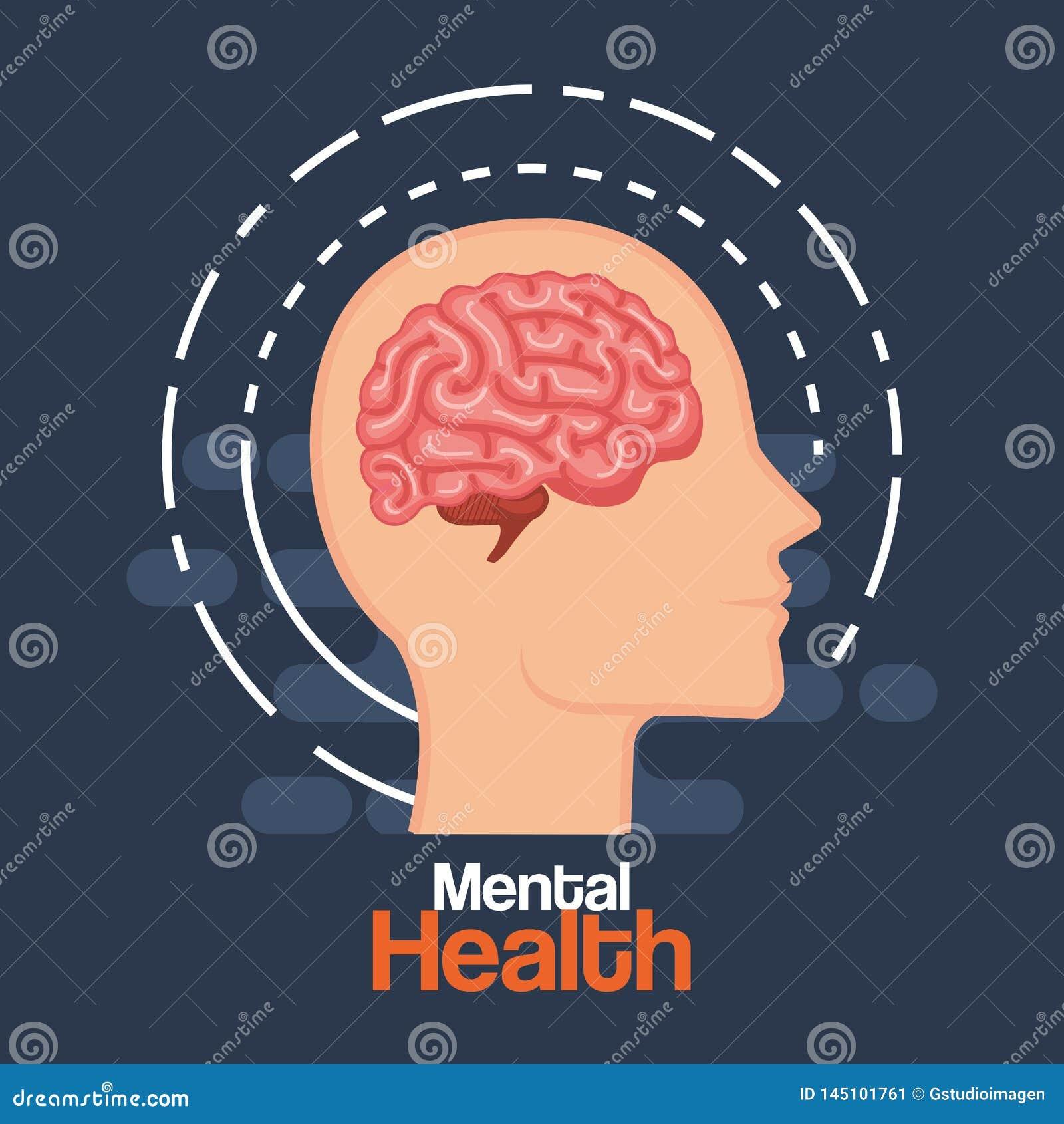 Cabeza del hombre de la silueta con el cerebro de la salud