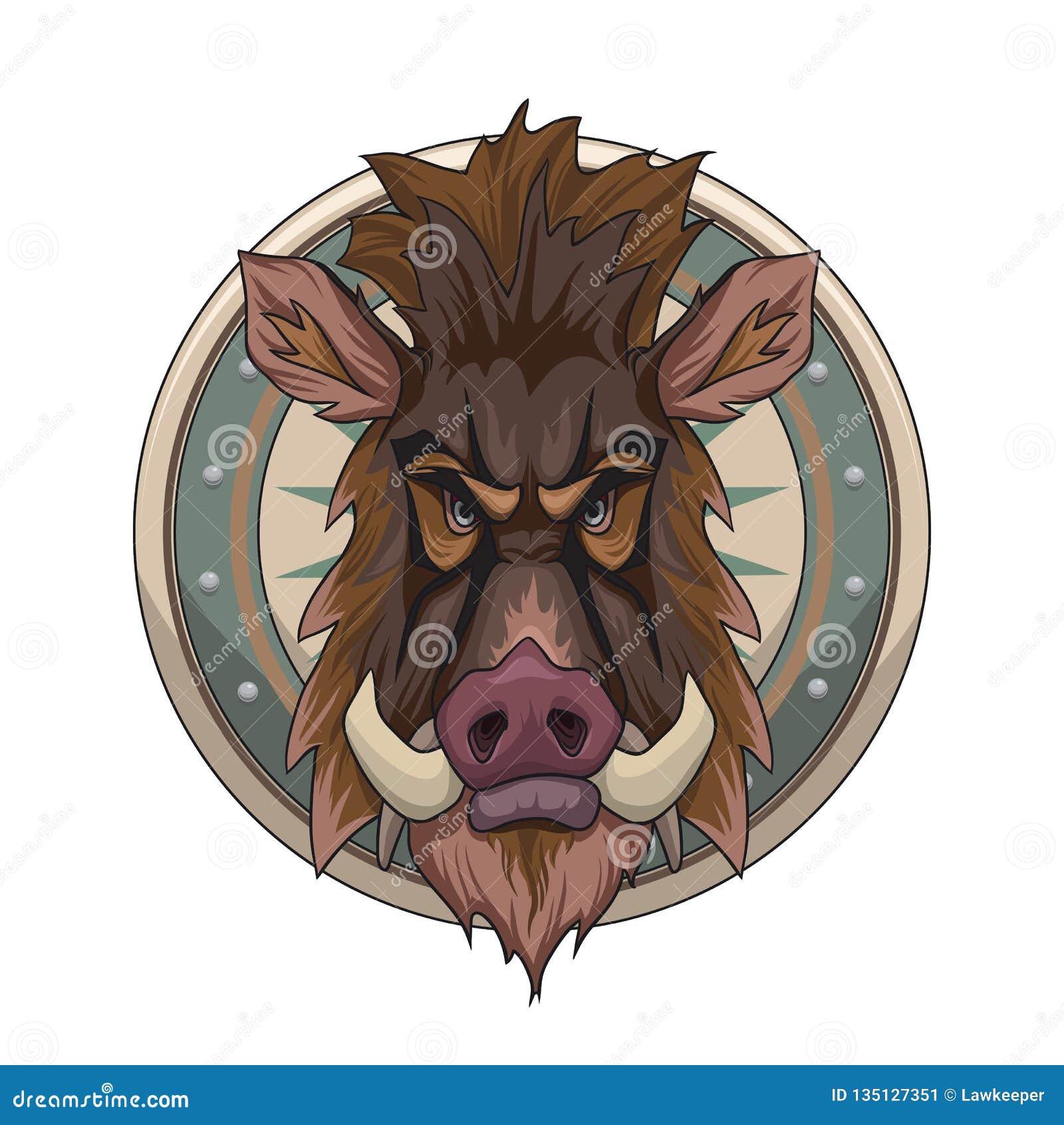 Cabeza del jabalí del estilo de la historieta en el escudo