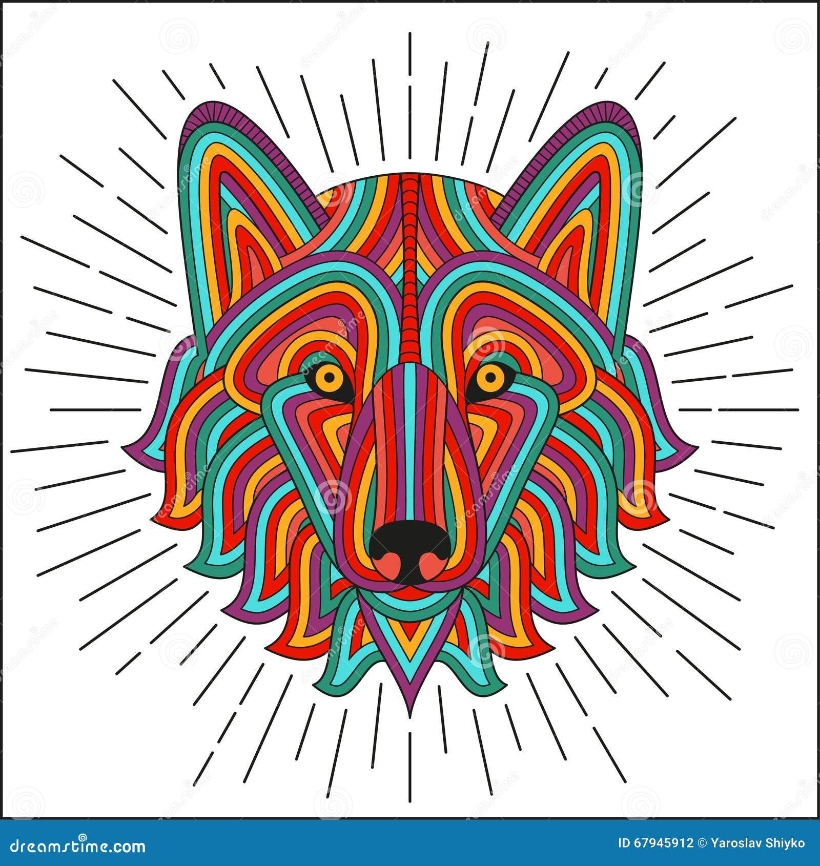 Cabeza Estilizada Creativa Del Lobo En Estilo Linear étnico Bueno