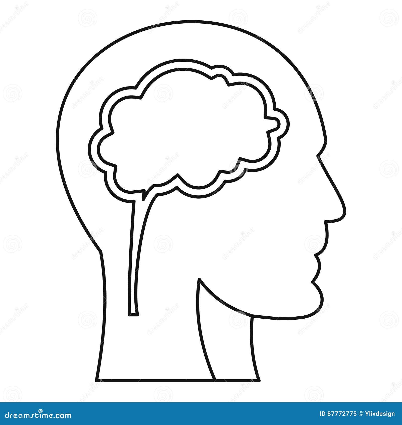 Cabeza humana con el icono del cerebro, estilo del esquema