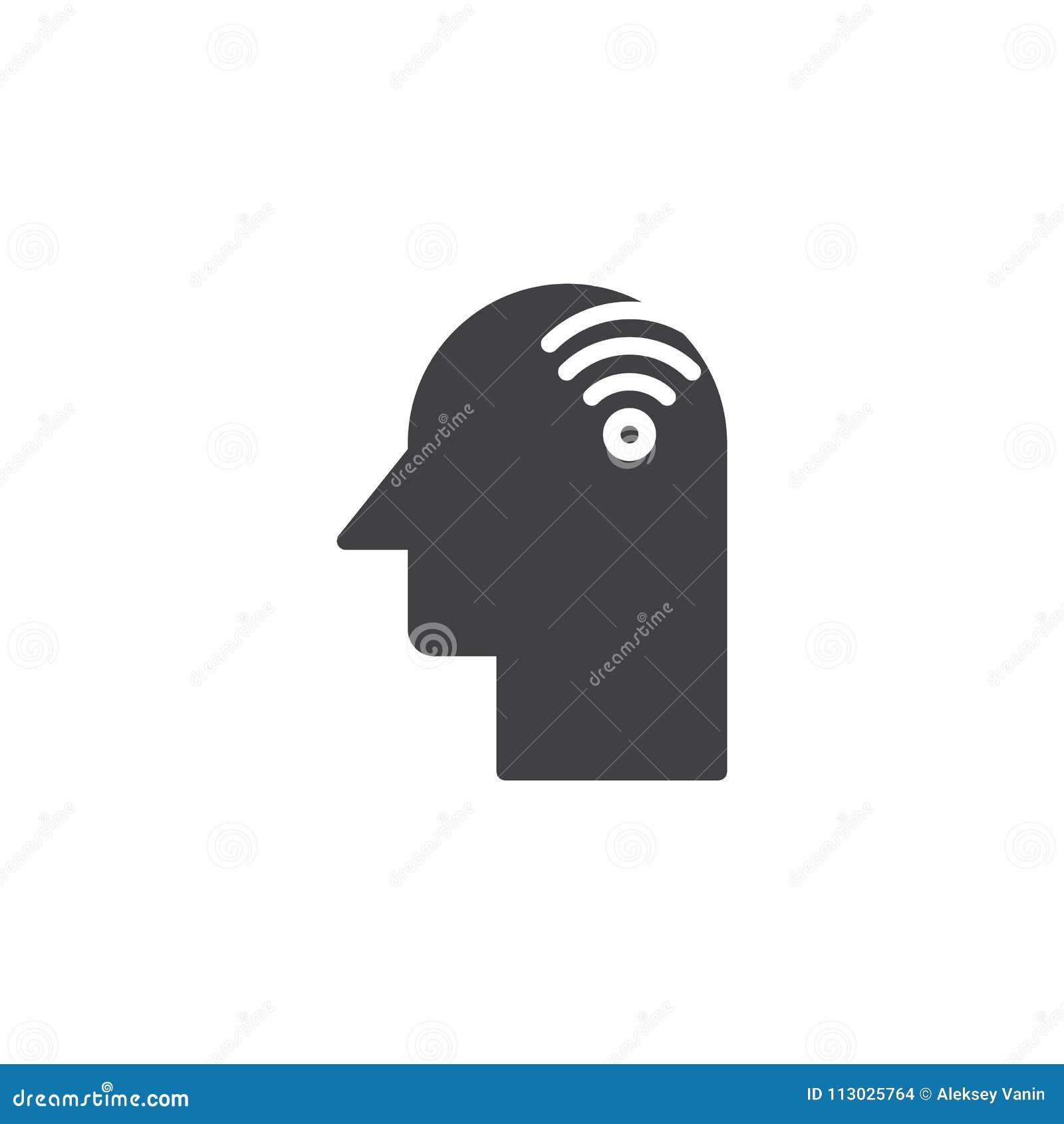 Cabeza humana con el icono del vector de Wi-Fi