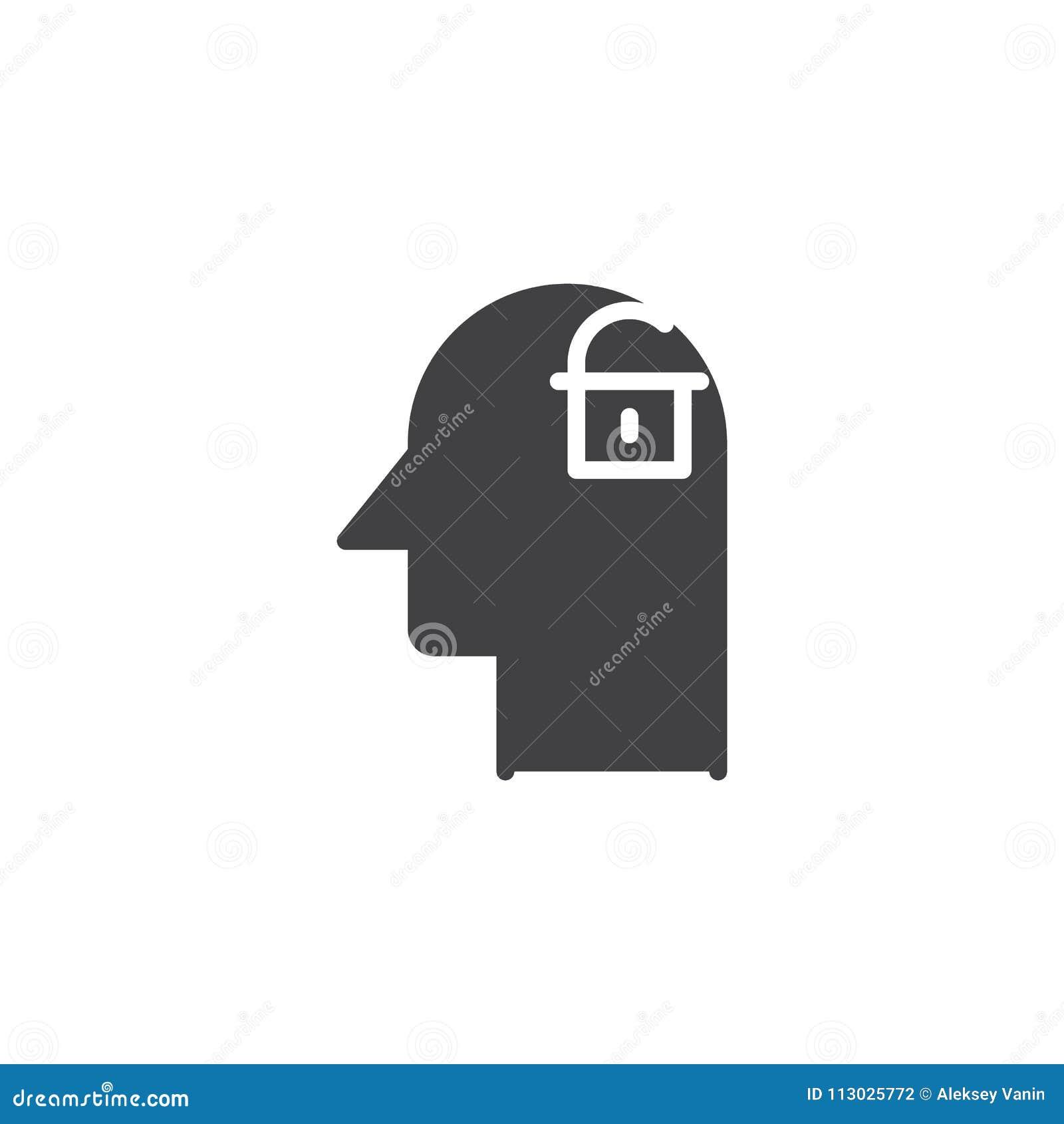 Cabeza humana con la cerradura abierta dentro del icono del vector