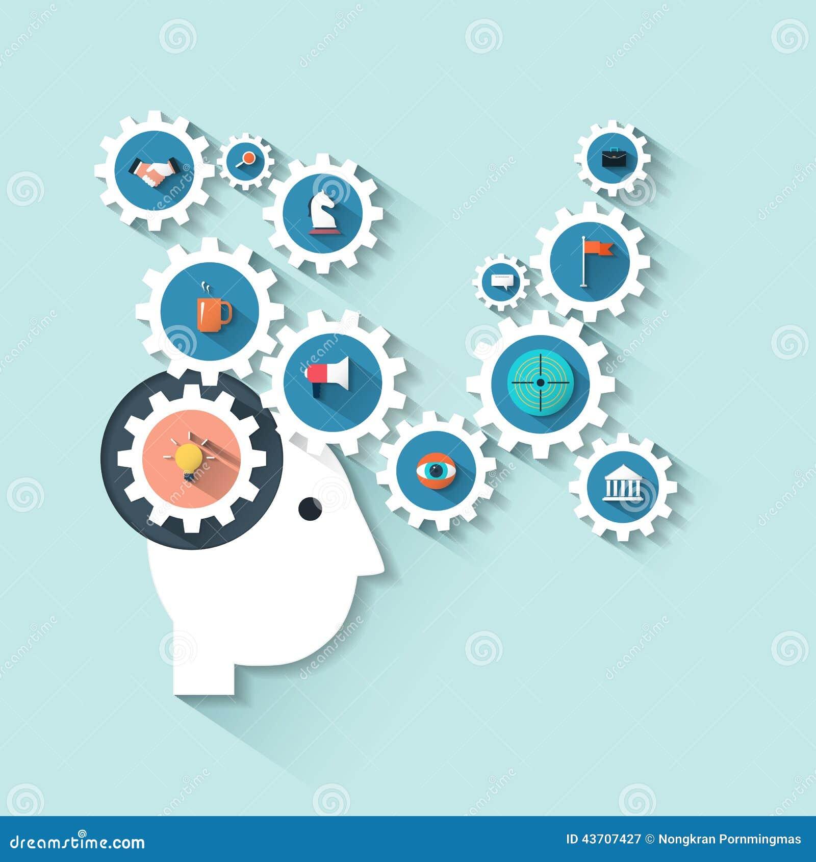 Cabeza humana del ejemplo con los engranajes Proceso de la estrategia empresarial del pensamiento creativo