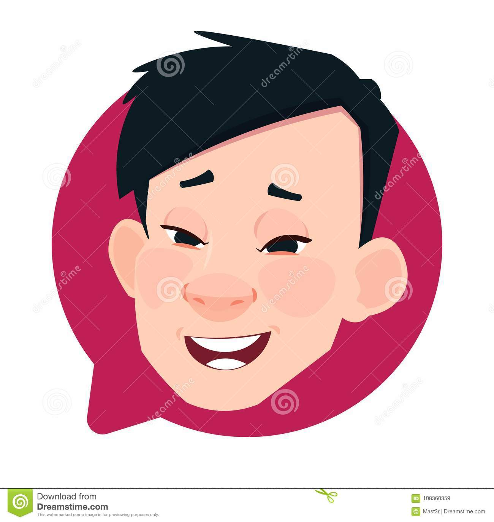 Cabeza masculina asiática del icono del perfil en la burbuja aislada, retrato de la charla del personaje de dibujos animados de A