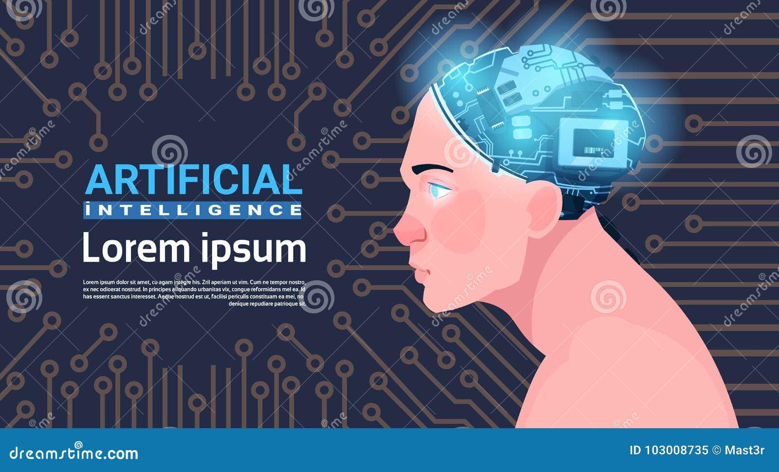Cabeza masculina con concepto moderno de la inteligencia artificial de Brain Over Circuit Motherboard Background del Cyborg