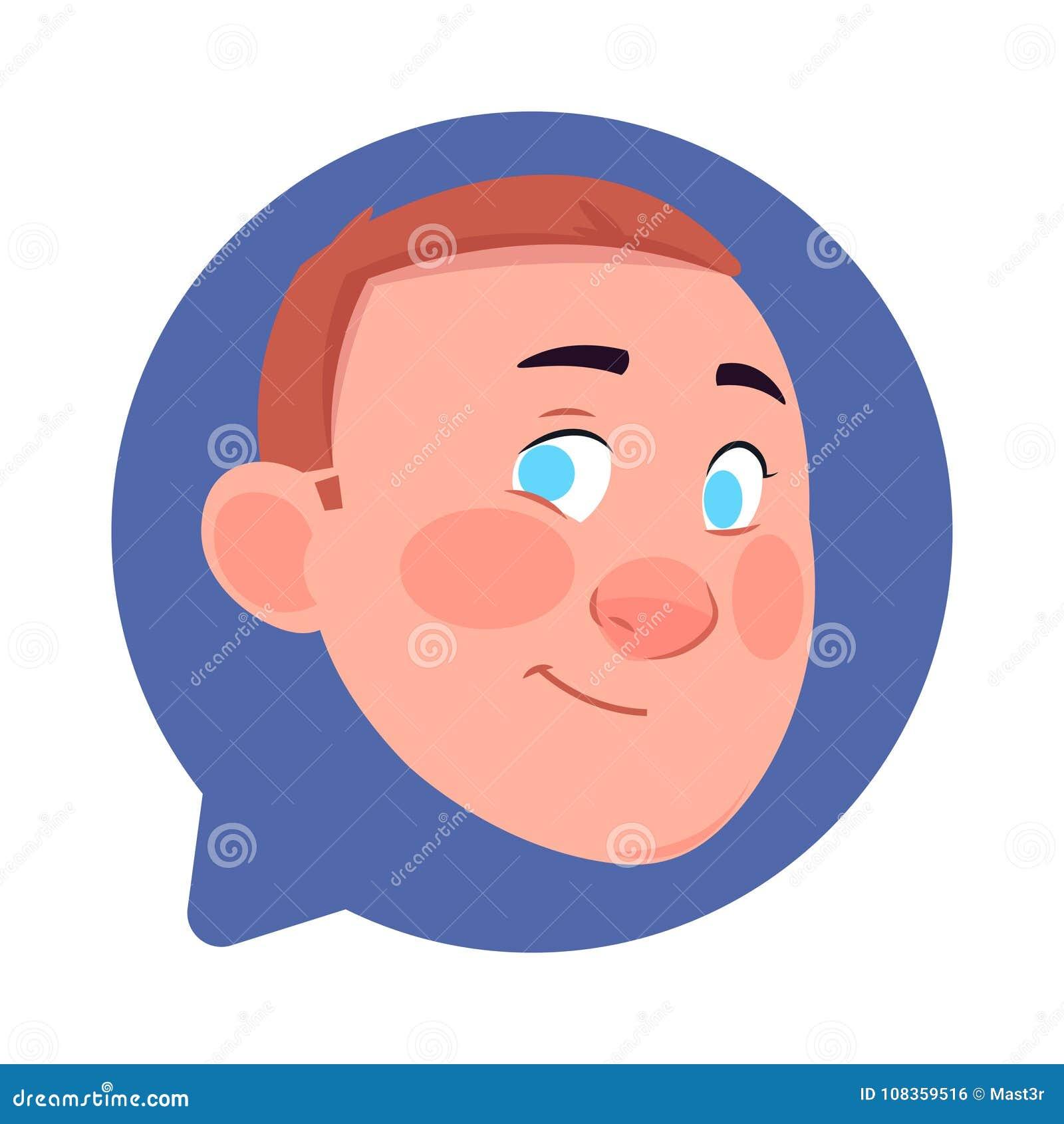 Cabeza masculina del icono del perfil en la burbuja aislada, retrato de la charla del personaje de dibujos animados de Avatar del