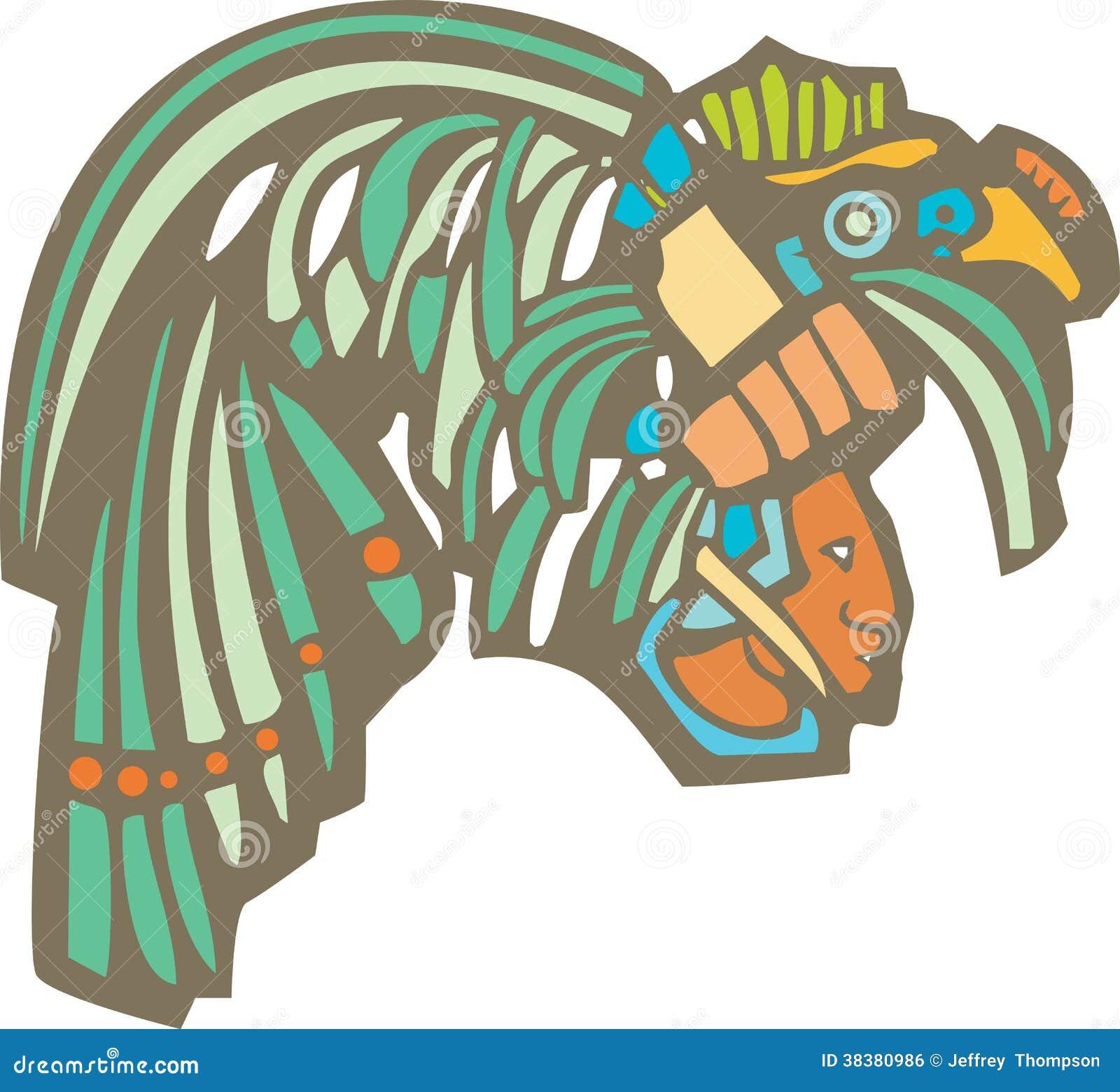 Cabeza Maya Del Guerrero Ilustracion Del Vector Ilustracion De